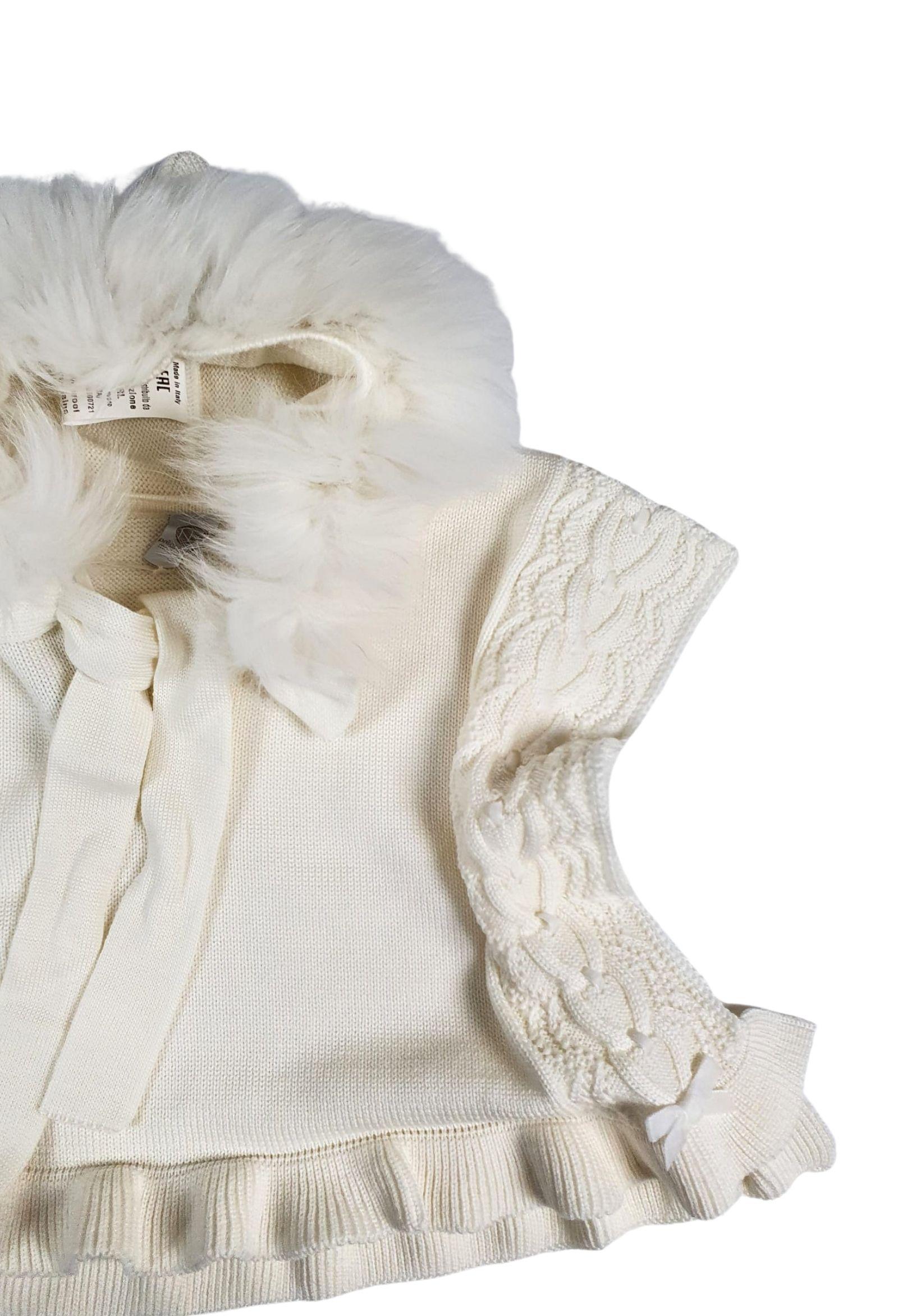 mantella con cappuccio in pelliccia panna marlu   Capispalla   IC1042PANNA