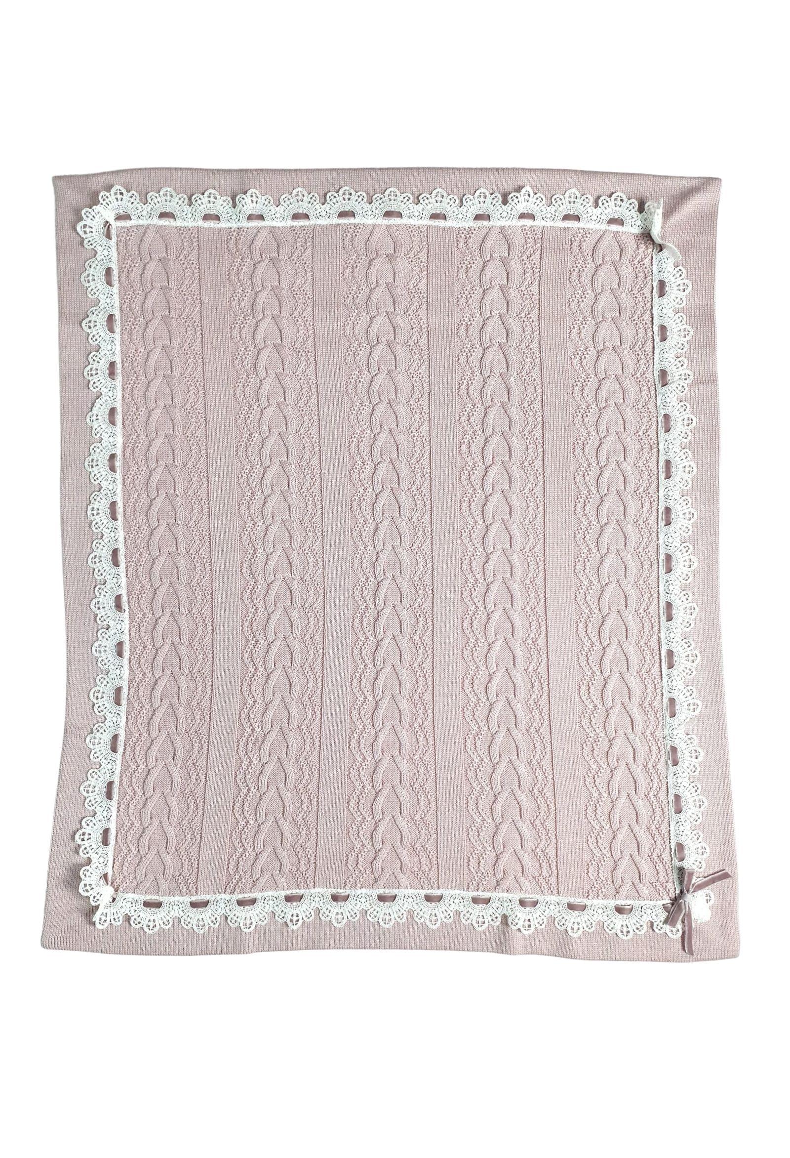 coperta in lana marsala con contorni pizzo bianco marlu   Coperte   IC1080MARSALA