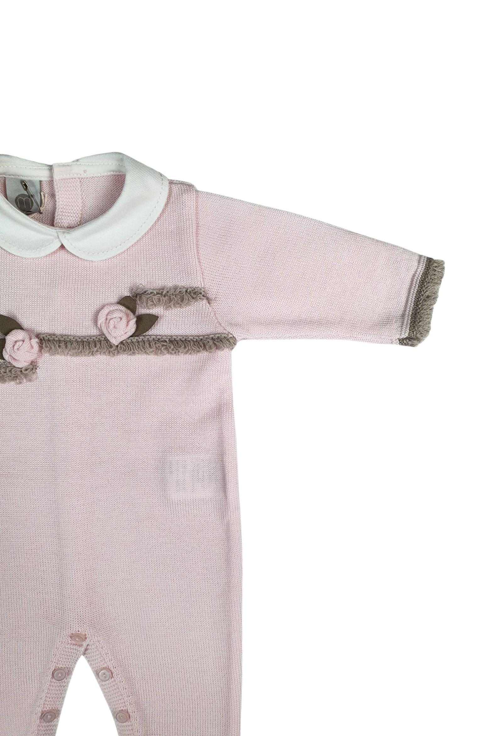 tutina in lana rosa e tortora marlu | Tutine | IC1510ROSA TORTORA