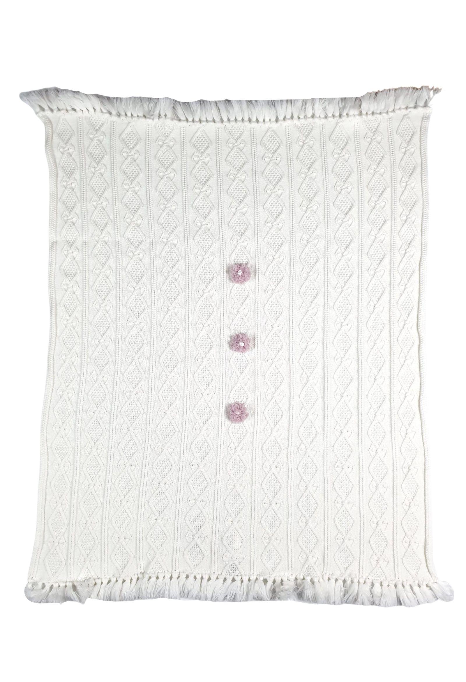 coperta in lana color vaniglia e applì marsala marlu   Coperte   IC1680VANIGLIA MARSALA