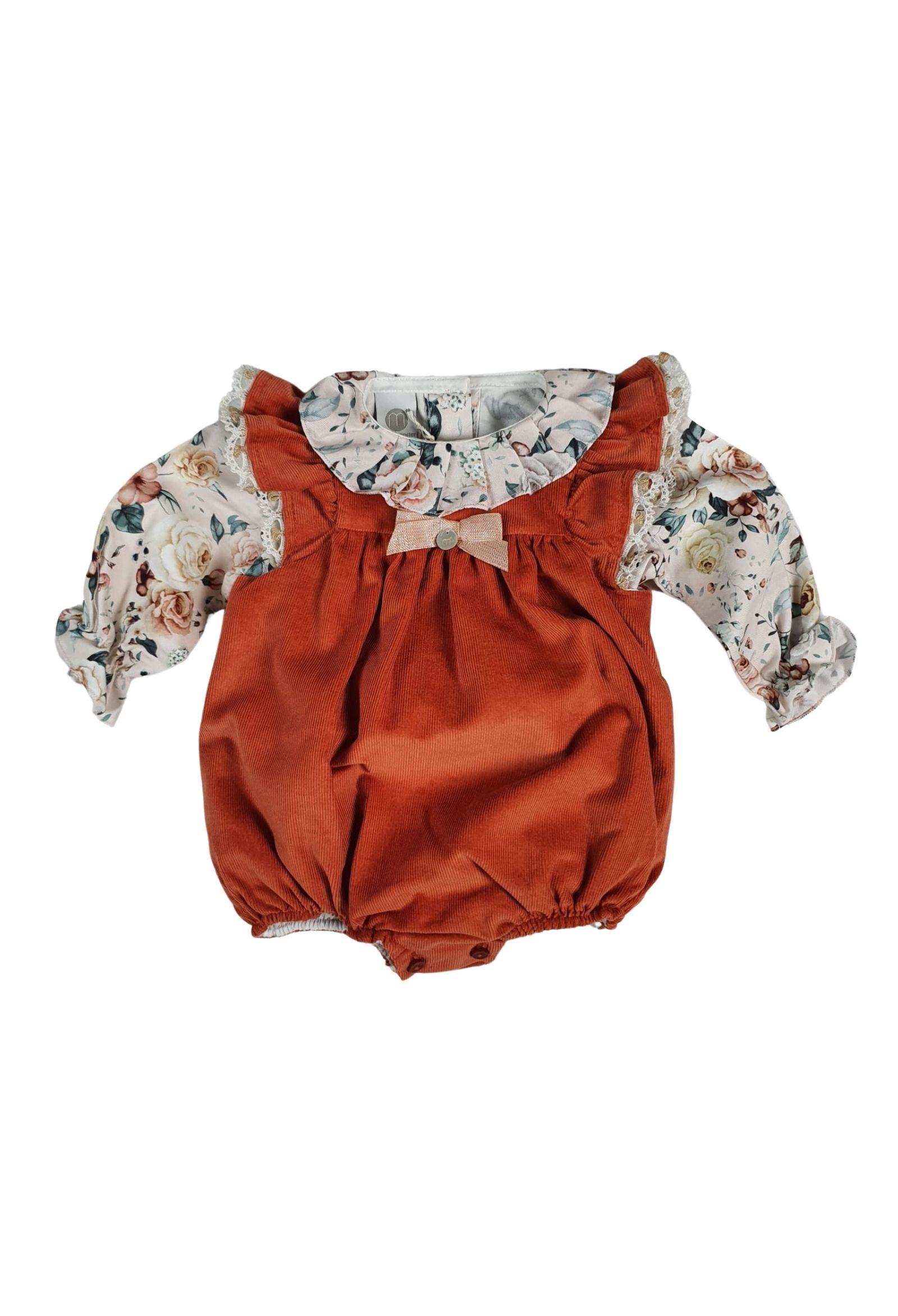 pagliaccetto acero con camicia floreale marlu   Tutine   IC2030ACERO
