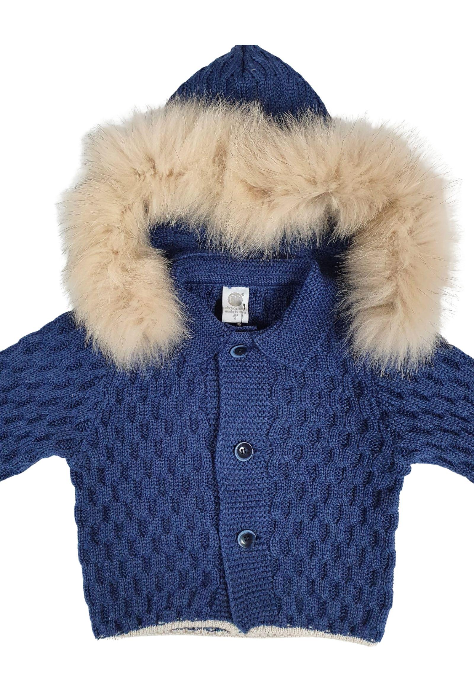 cappottino in lana con cappuccio in pelliccia removibile marlu   Capispalla   IC5340BLU
