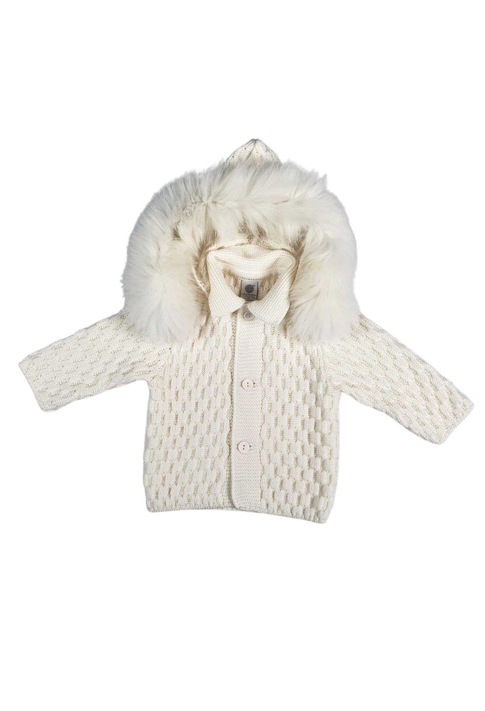 cappottino in lana con cappuccio in pelliccia removibile marlu   Capispalla   IC5340PANNA