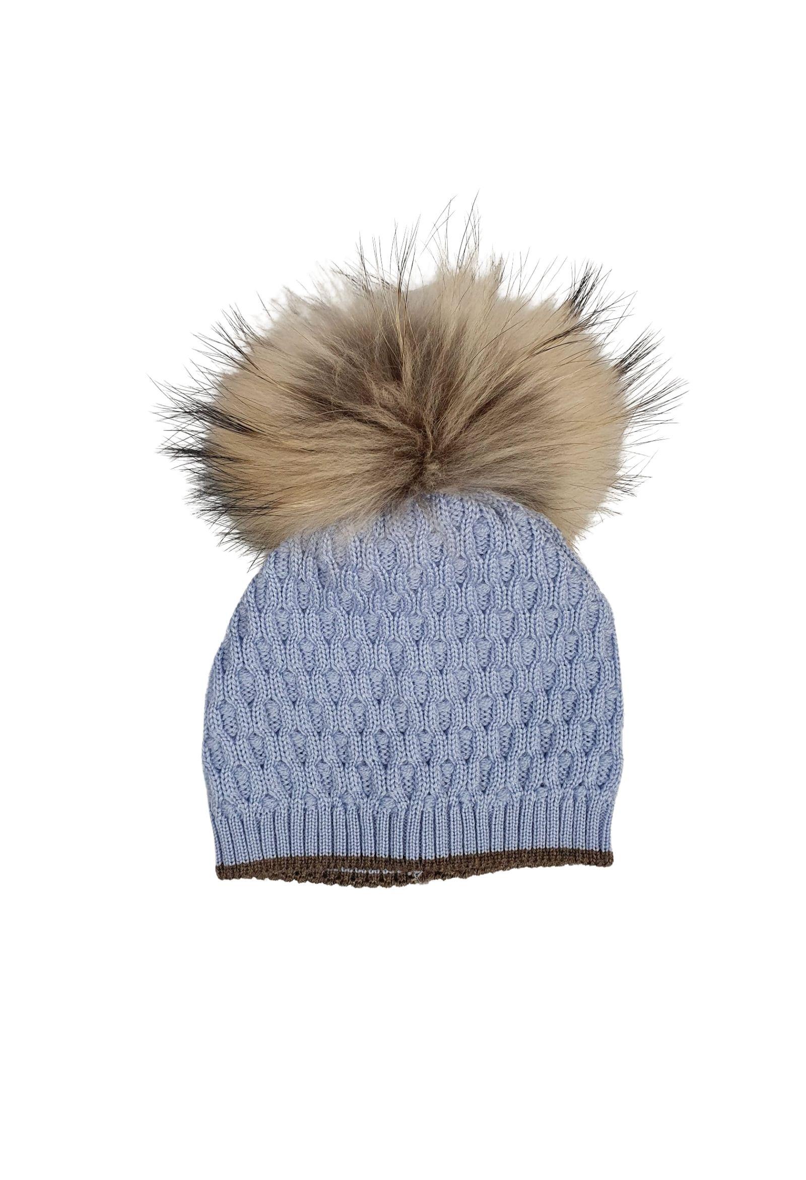 cappello in lana con pon pon in pelliccia marlu   Cappelli   IC5371CIELO