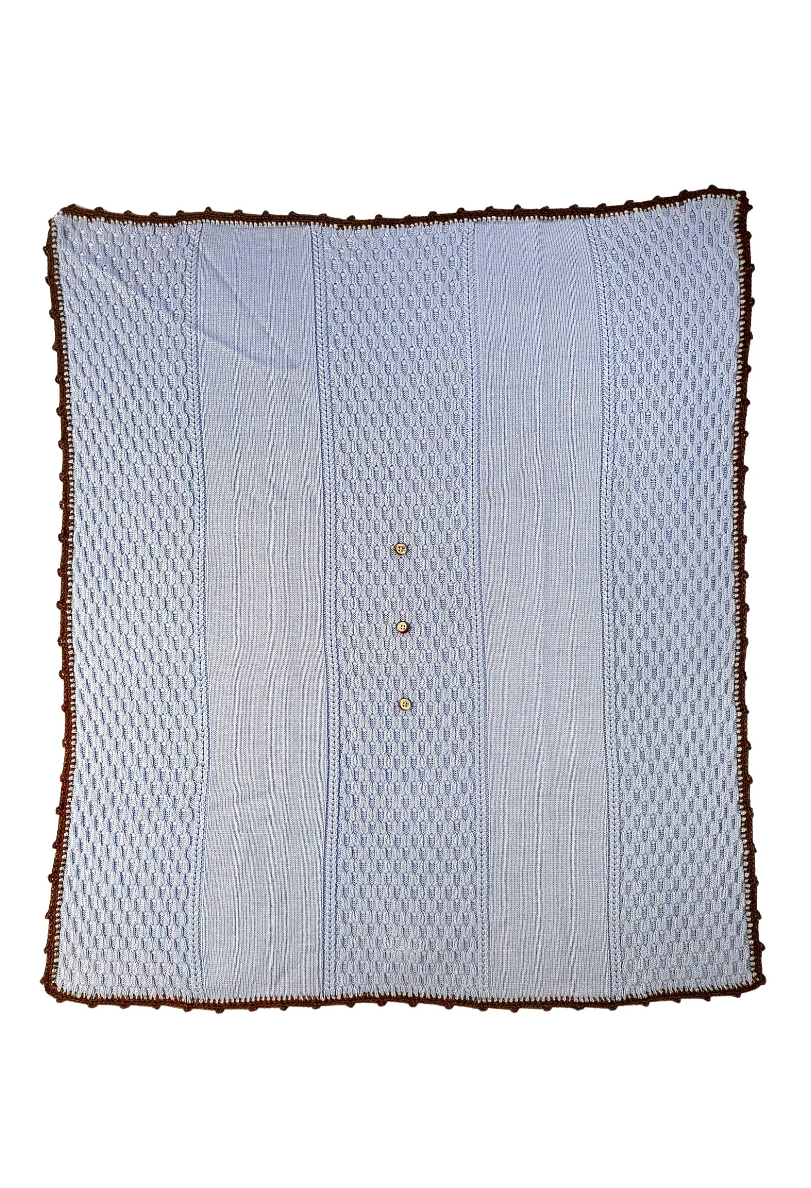 coperta in lana con ricami color cielo marlu   Coperte   IC5380CIELO