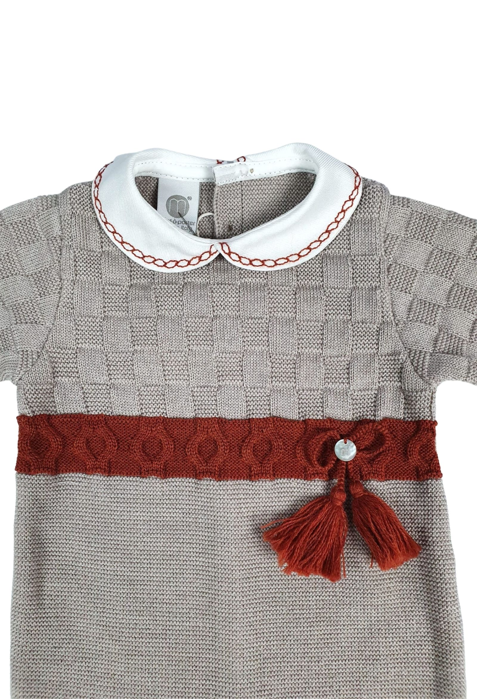tutina in lana con colletto tortora e ruggine marlu   Tutine   IC5610TORTORA