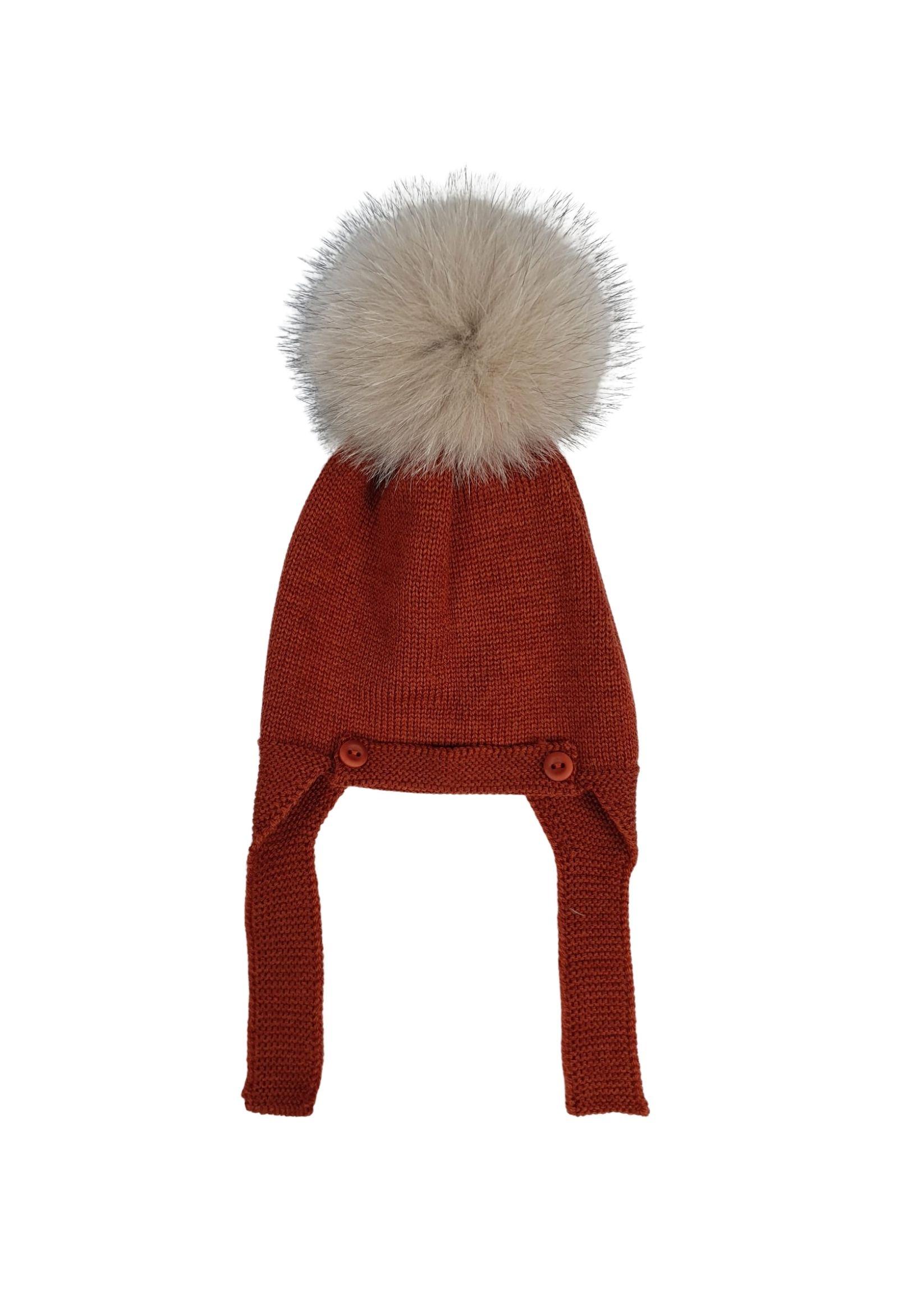 cappello con pon pon in pelliccia ruggine marlu | Cappelli | IC5671RUGGINE