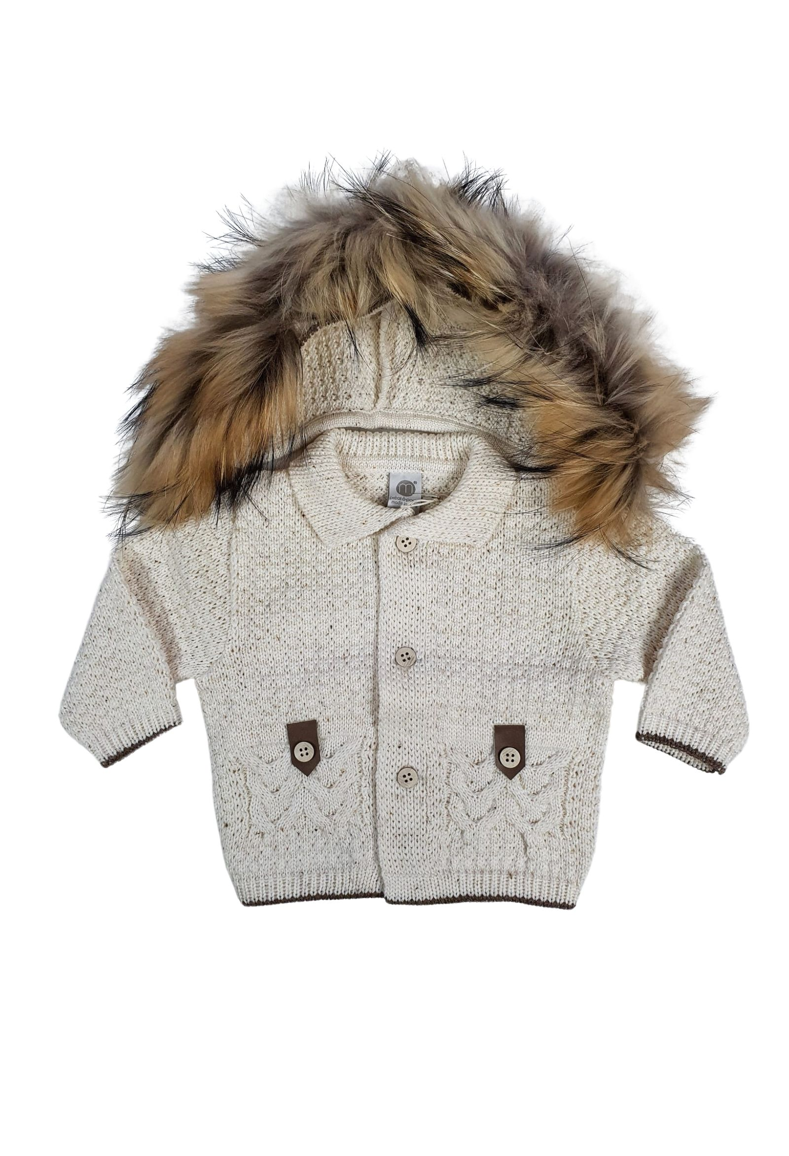 cappotto in lana con cappuccio in pelliccia panna e cacao marlu | Capispalla | IC5940PANNA CACAO