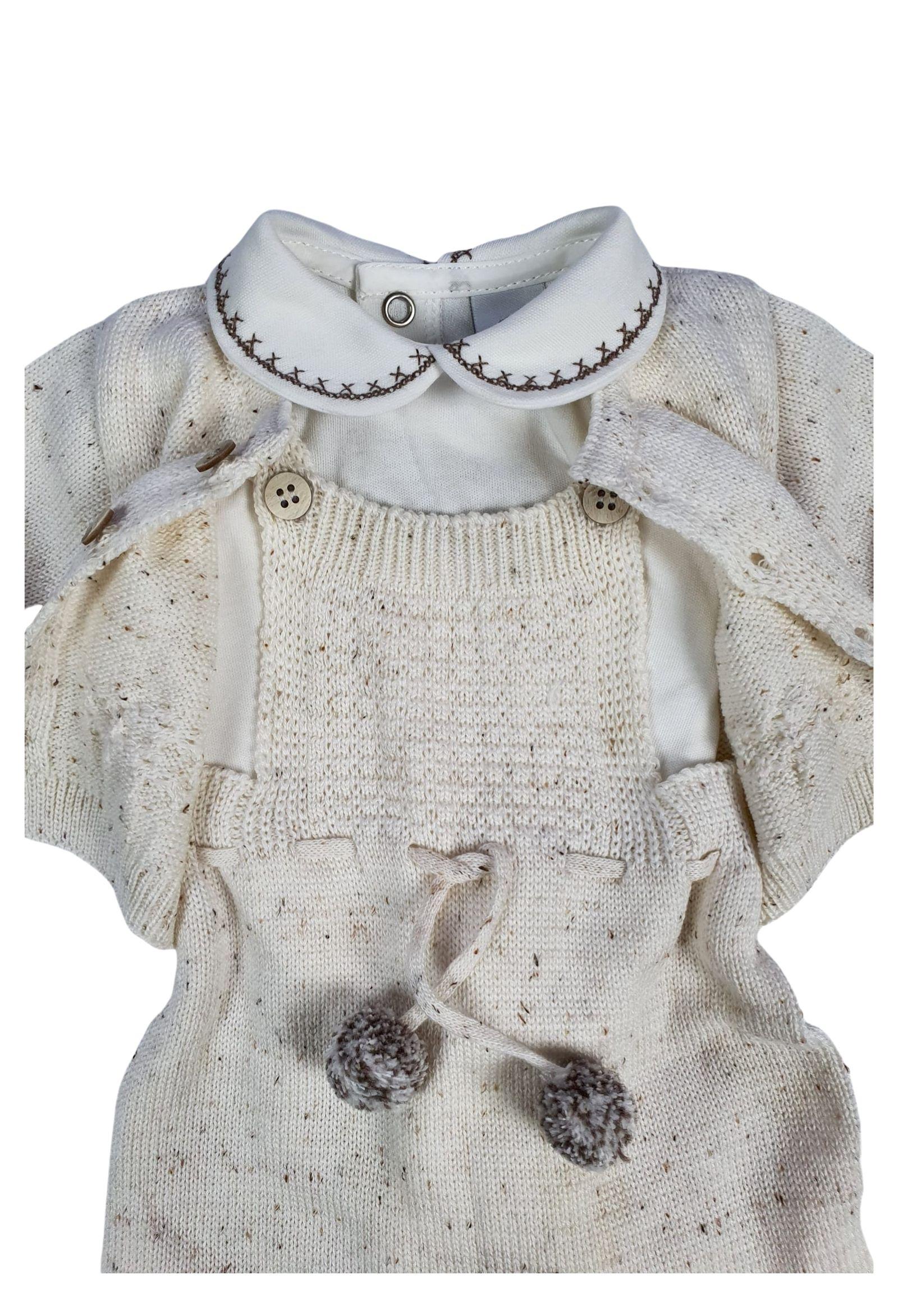 completino salopette e camicia in lana cacao e panna marlu   Tutine   IC5961PANNA CACAO