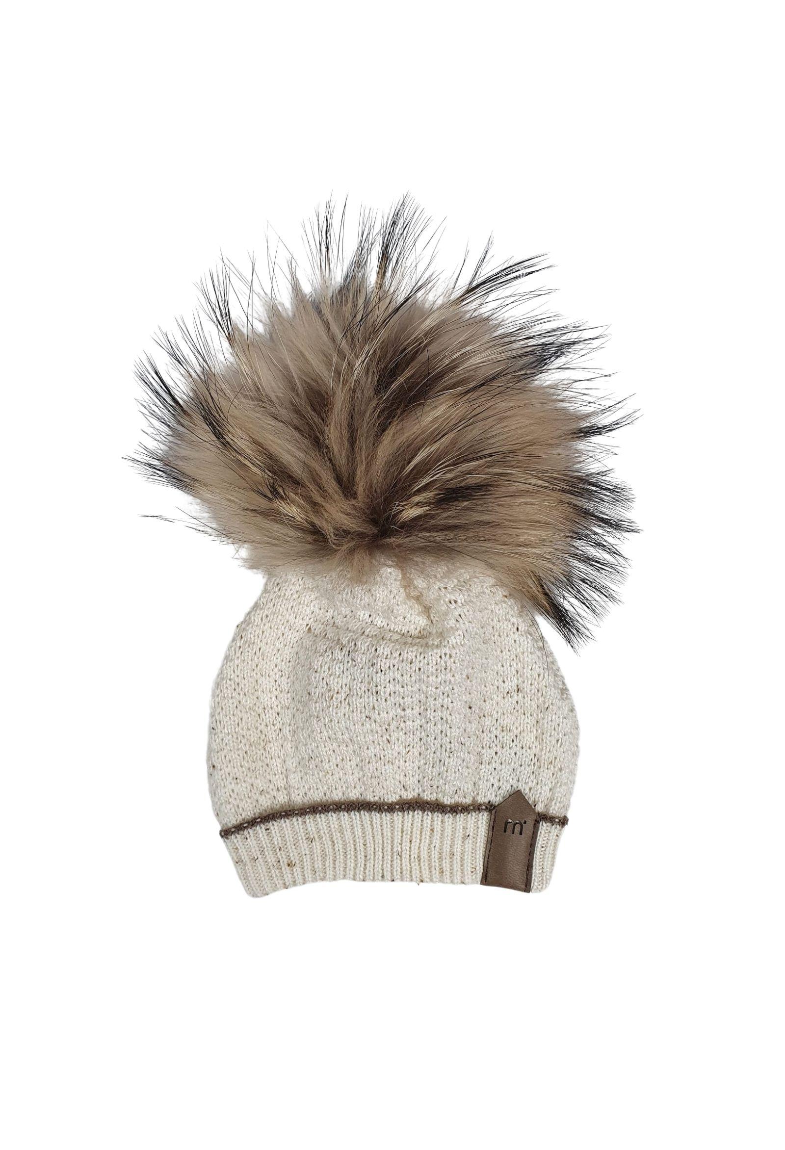 cappello in pelliccia con ponpon panna e cacao marlu | Cappelli | IC5971PANNA CACAO