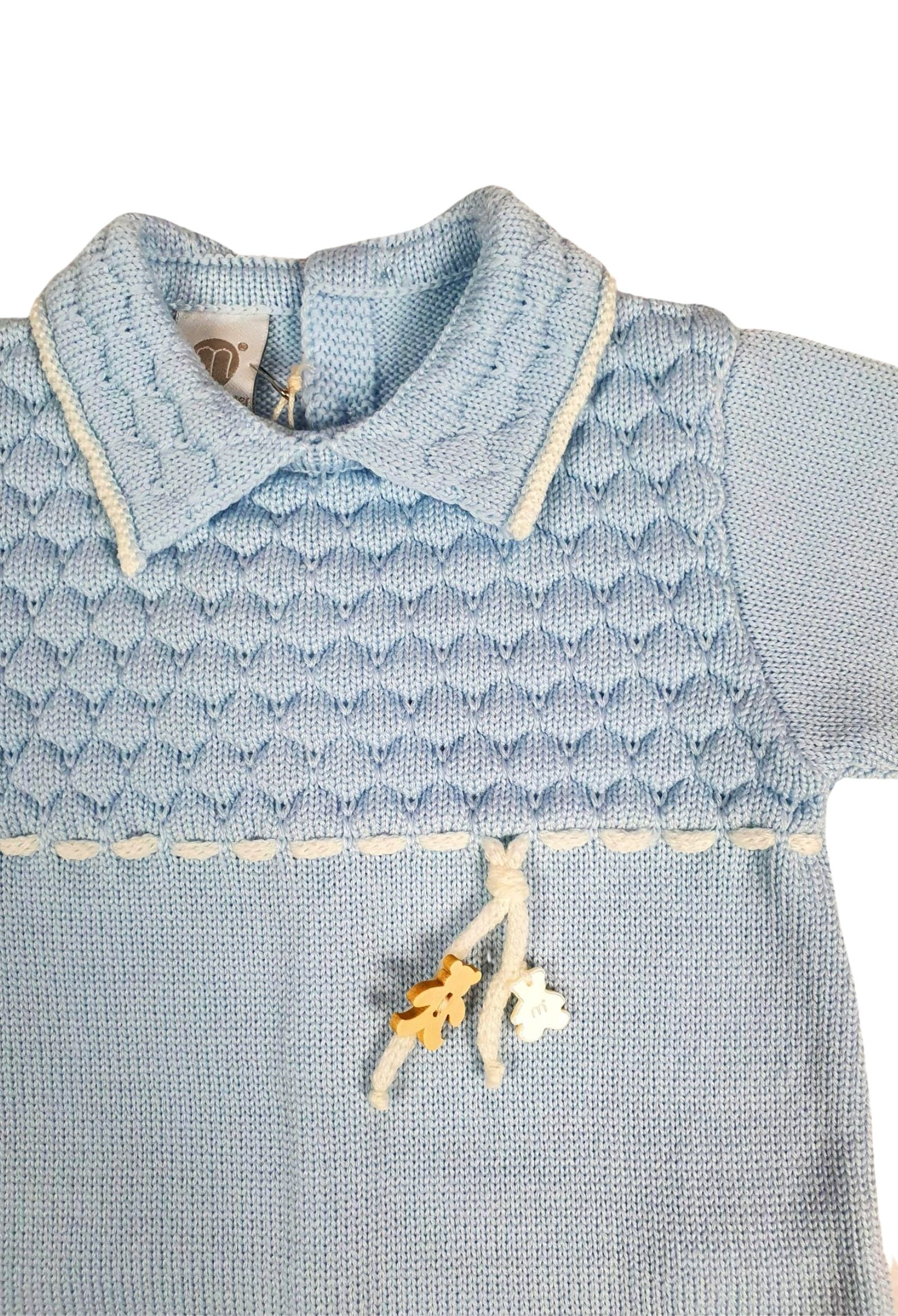 tutina in lana azzurra con colletto marlu | Tutine | IC6010CIELO BIANCO