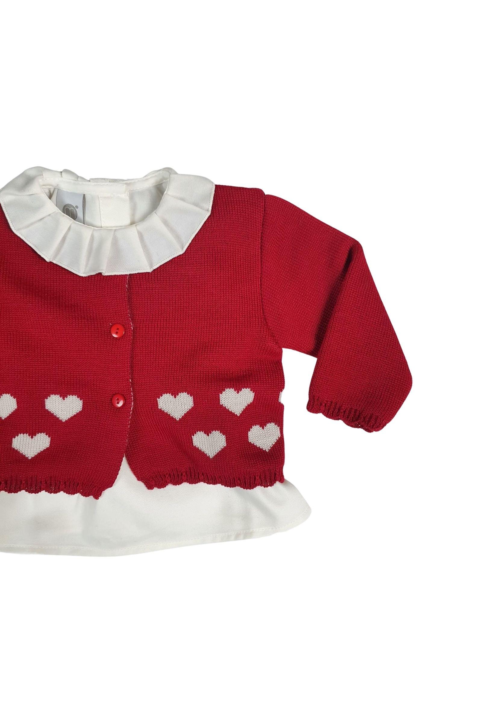 completo 3 pezzi rosso con cuori e camicia bianca e calze marlu | Tutine | ID30360BORDEAUX
