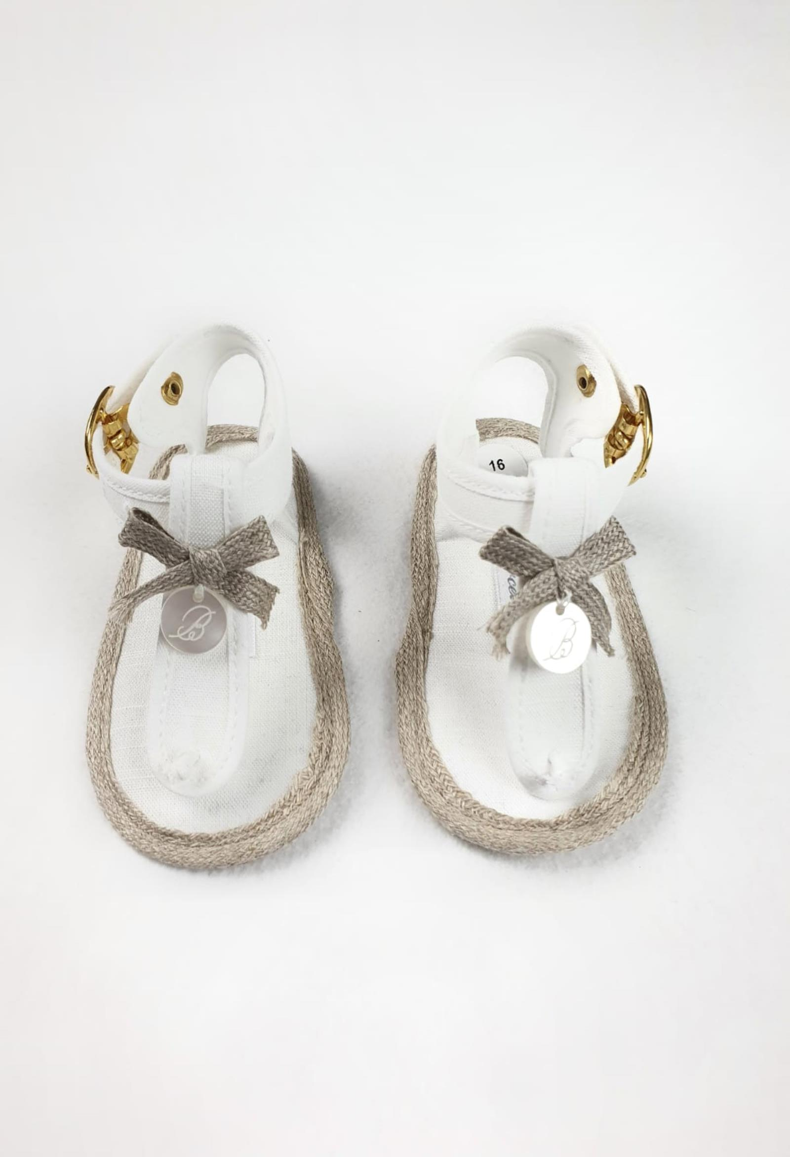 sandali in tela bianchi con bordi in corda barcellino | Scarpe | 9430UNI