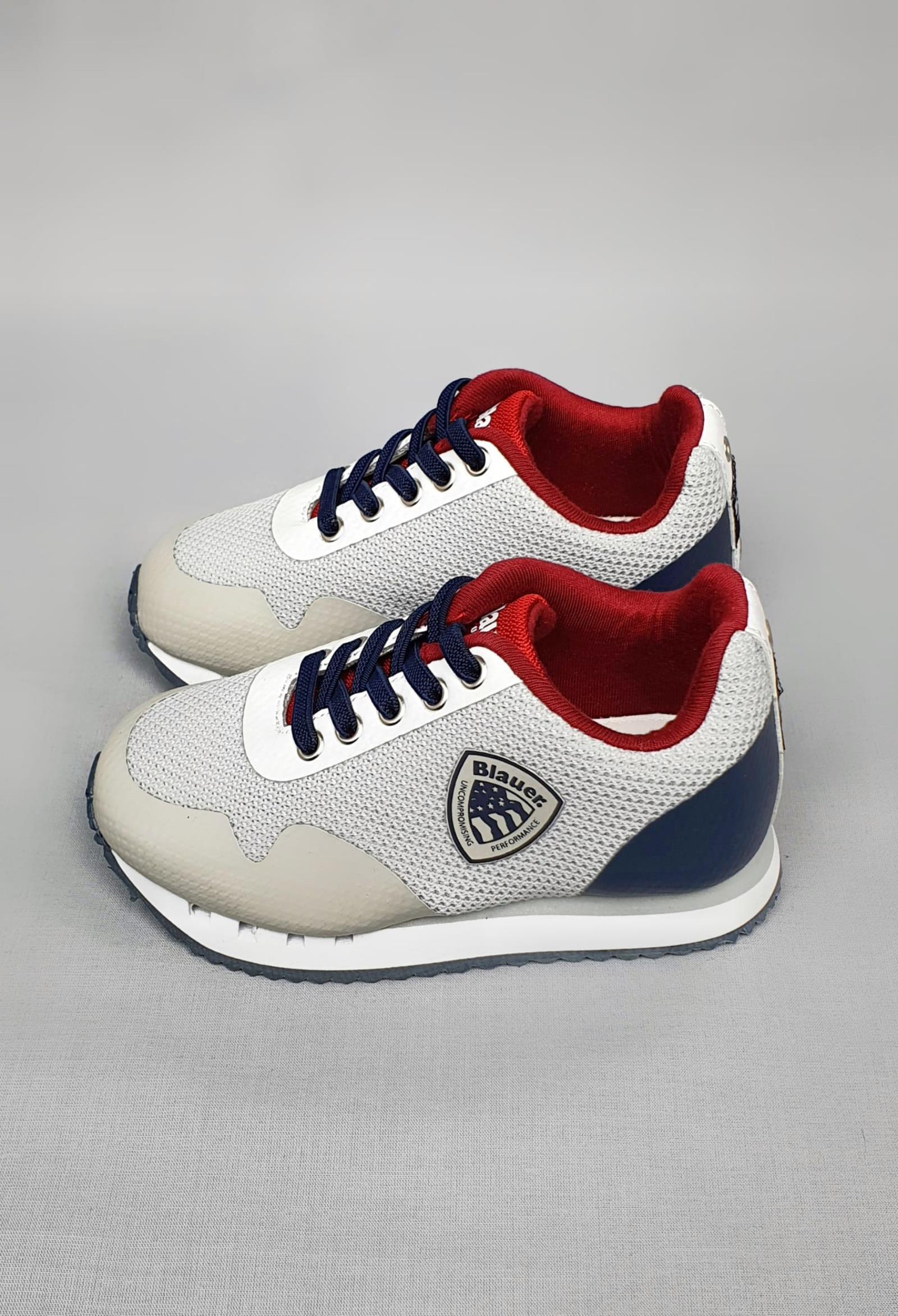 sneakers grigia e blu in pelle e tela con logo laterale blauer. | Scarpe | S1DASH01MESCOLOR