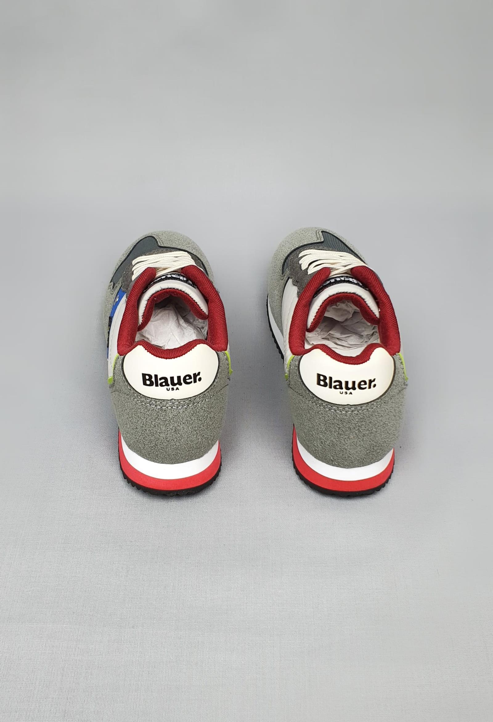 sneakers grigia e inserti colorati scamosciata con logo laterale blauer. | Scarpe | S1DASH02NYCFANTASI