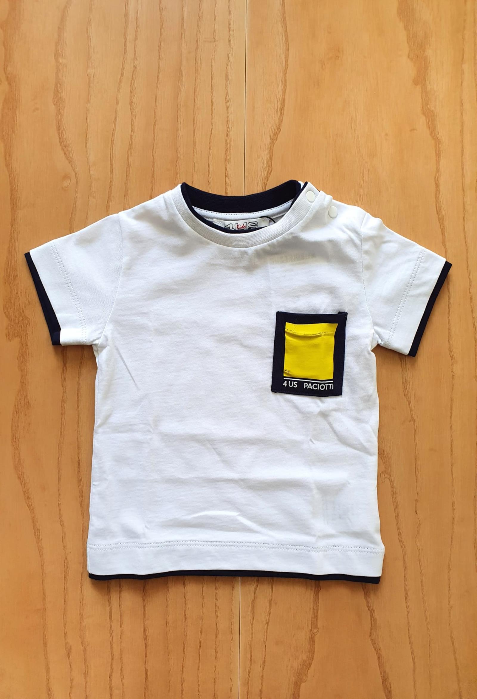 T-SHIRT BIANCA CON TASCHINO FRONTALE GIALLO cesare paciotti   T-shirt   TSP1144BUNI