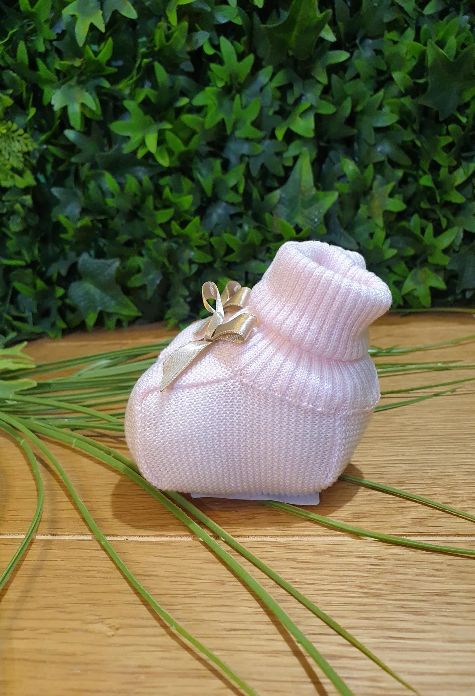 scarpine in cotone rosa con fiocco in raso applicato beige colori chiari | Scarpe | FF755649UNI