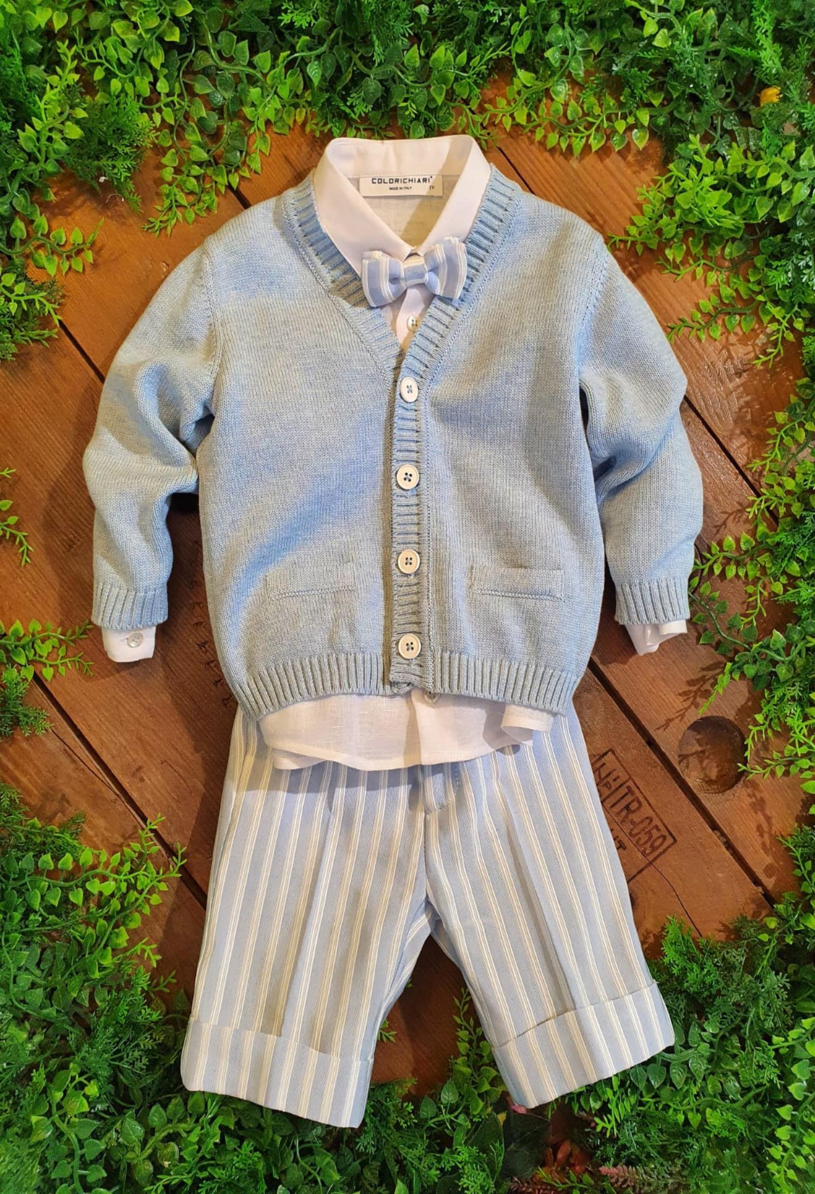 completo 3 pezzi camicia, cardigan e salopette colori chiari   Completi   MN405800UNI