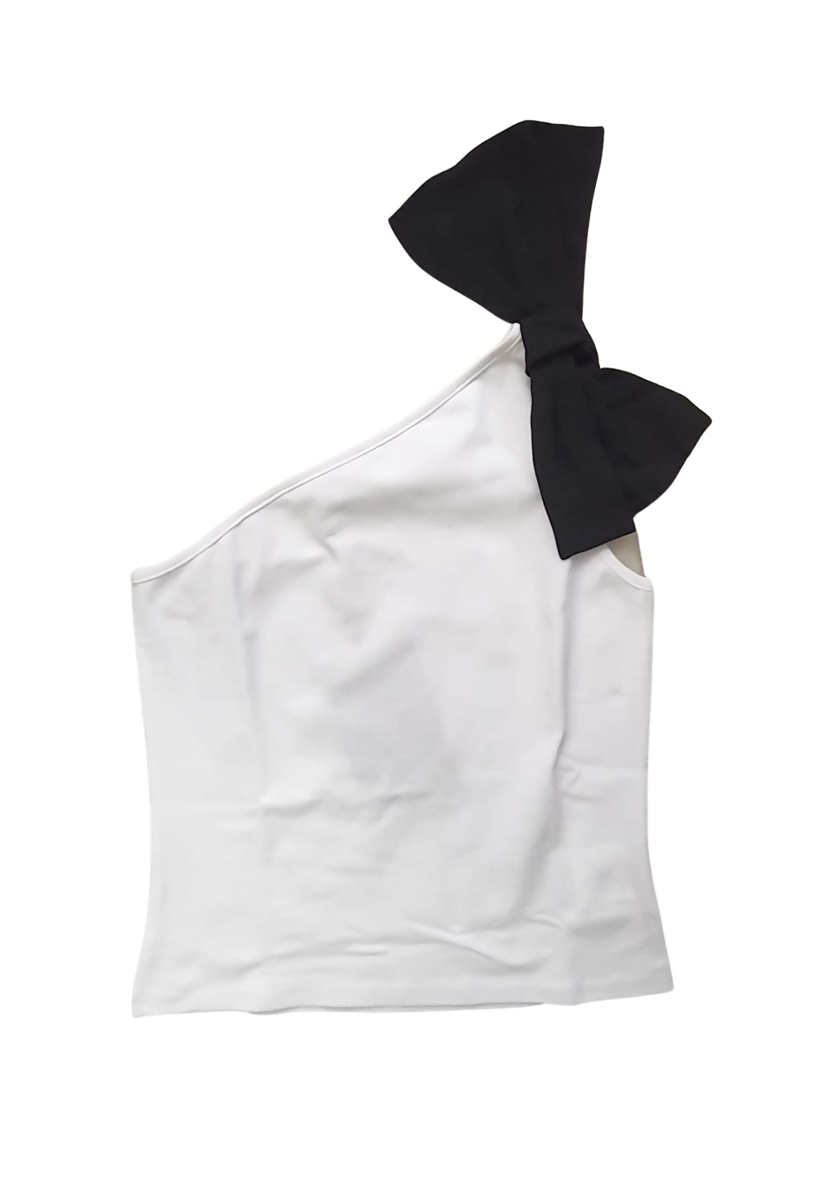 t-shirt monospalla con fiocco nero elsy | T-shirt | ALINUNI
