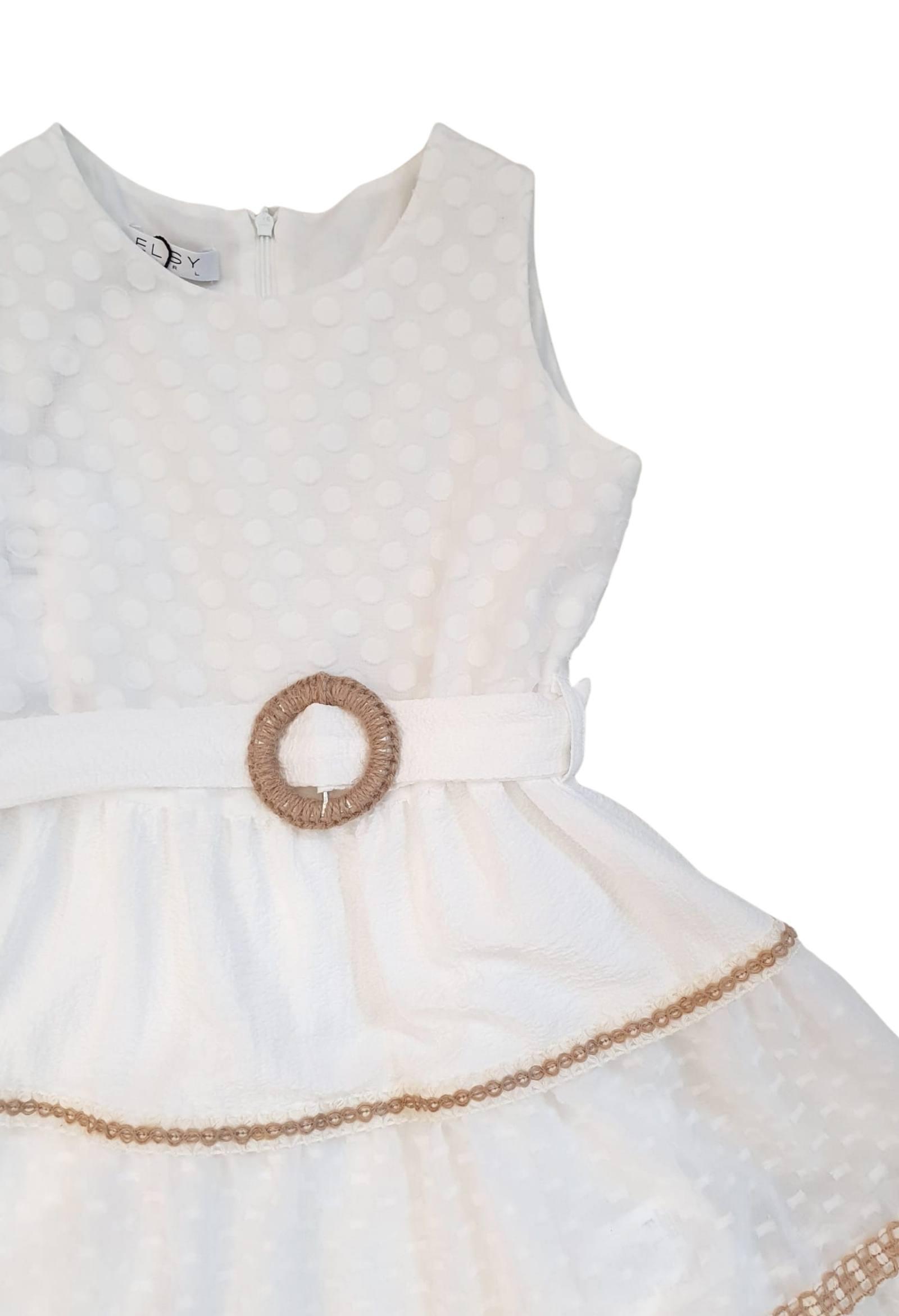 abito bianco in cotone con cintura in vita elsy   Abiti   CASSANDRAUNI