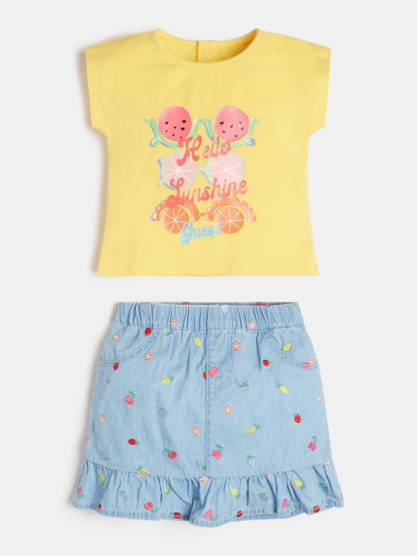 set t-shirt gialla e short in denim GUESS kids | Set | A1GG11K6YW1GIALLO