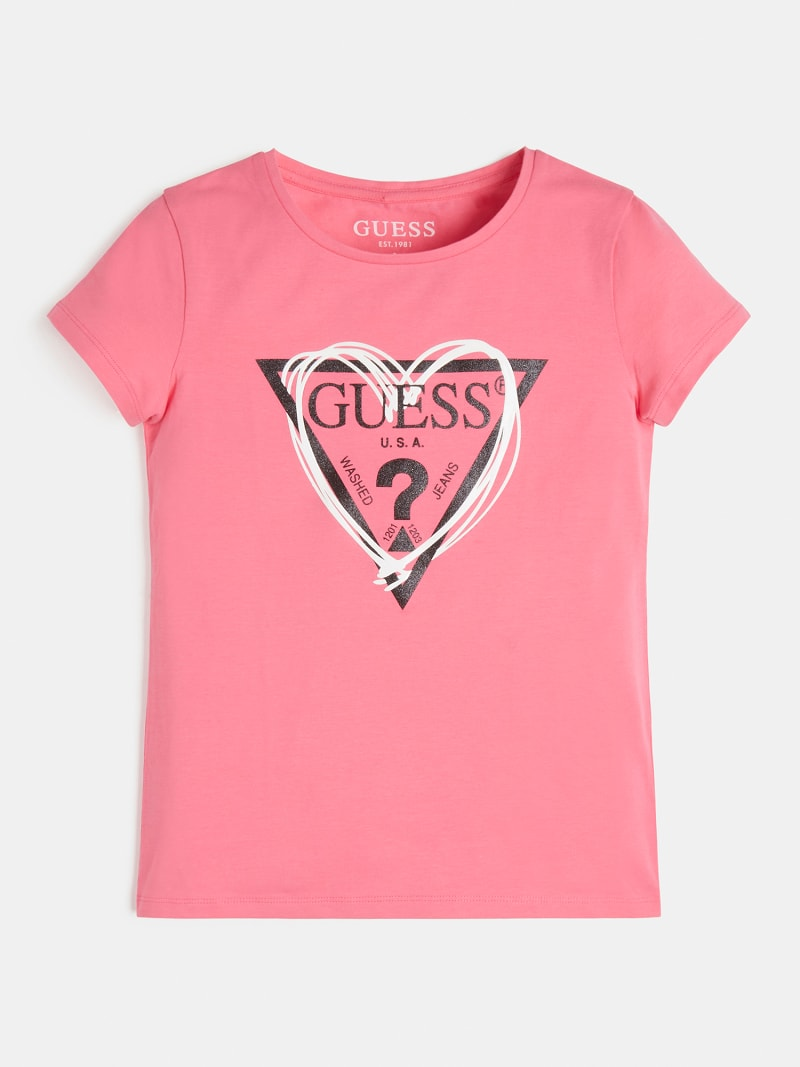 t-shirt rosa in cotone logo frontale GUESS kids   T-shirt   J1RI04K6YW1G607
