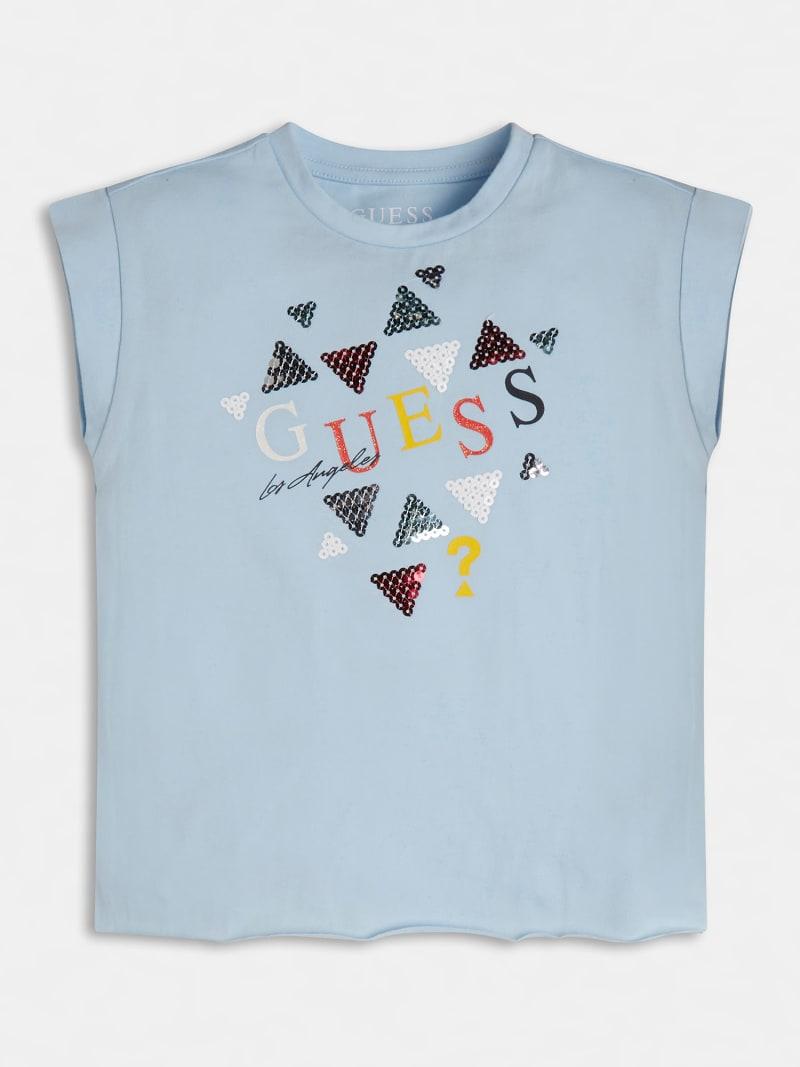 t-shirt asimmetrica mezza manica in cotone GUESS kids   T-shirt   K1GI03K6YW1AZZURO