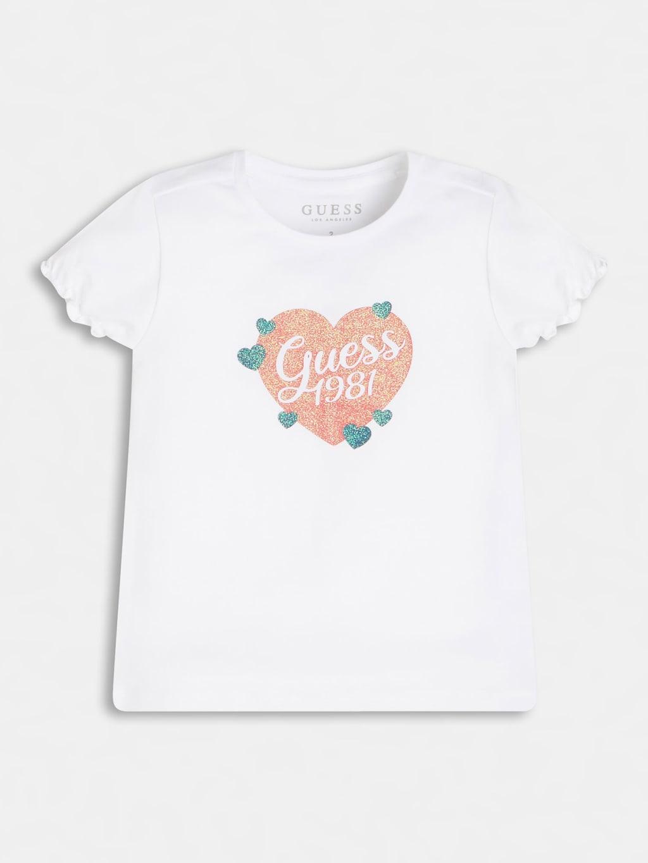 t-shirt mezza manica bianca con riccetto su bordini GUESS kids | T-shirt | K1RI10K6YW1TWHT