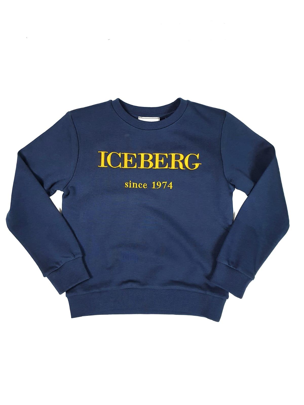 FELPA BASIC BLU CON LOGO RICAMATO FRONTALE iceberg   Felpe   MFICE1100JUNIBLU