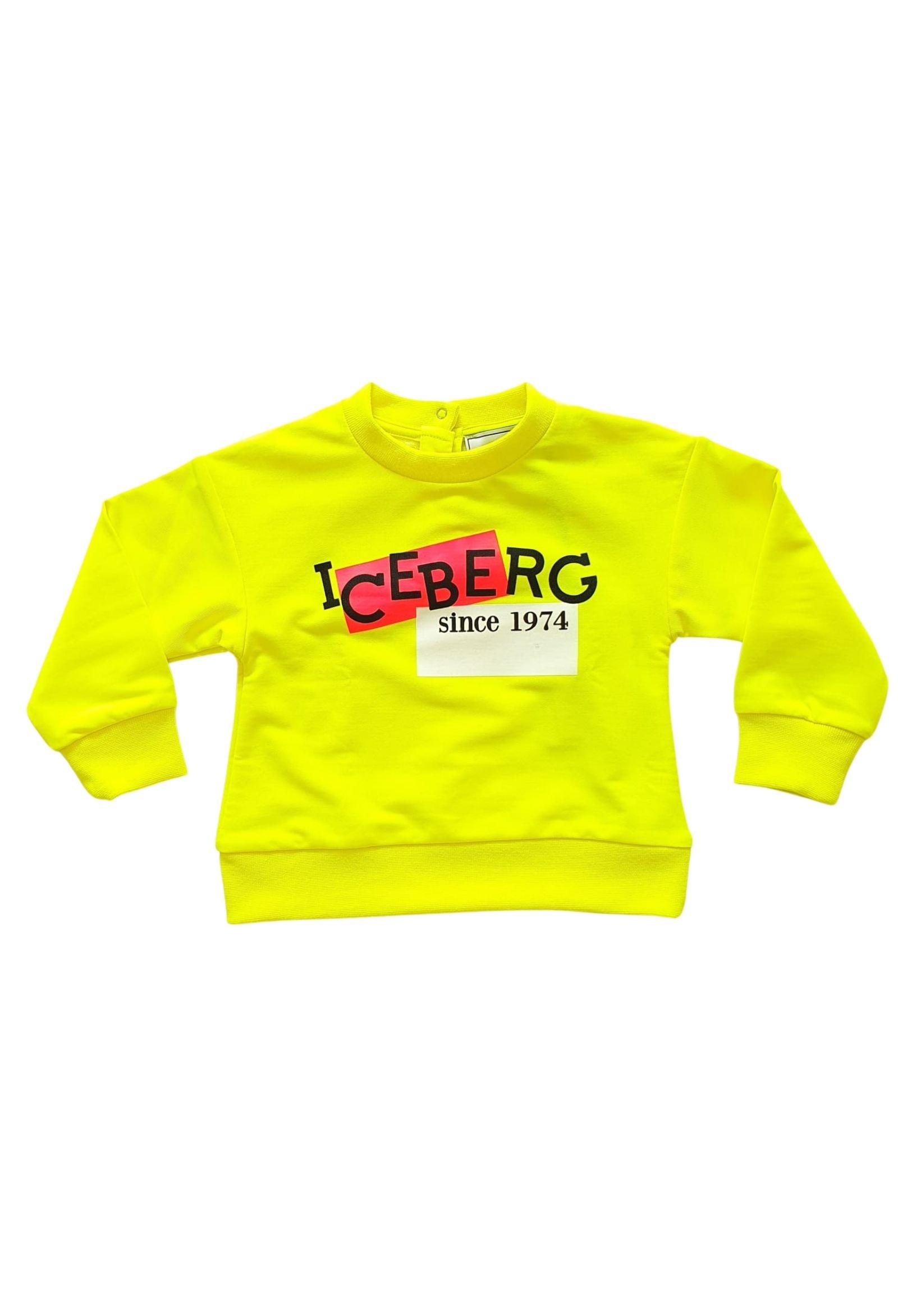 felpa in cotone gialla fluo con stampa frontale iceberg | Felpe | MFICE1173BGIALLO