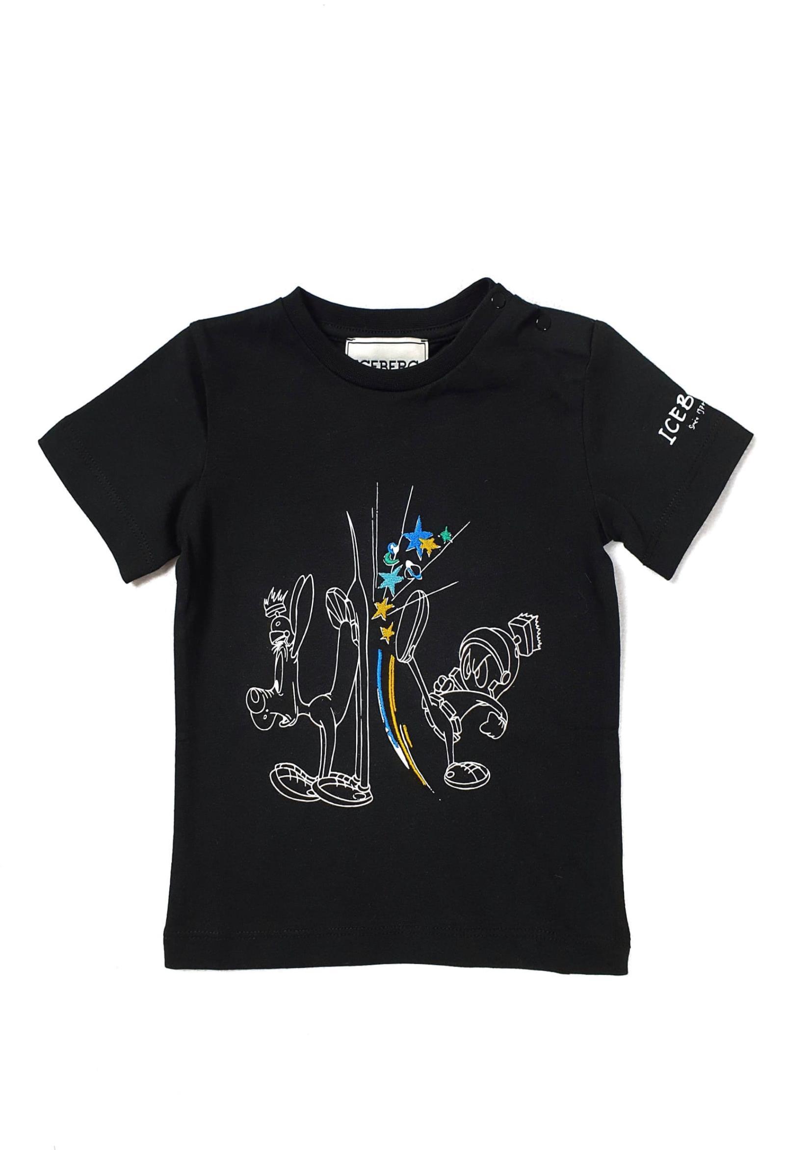 T-SHIRT NERA CON STAMPA FRONTALE LOONEY TUNES iceberg | T-shirt | TSICE1128BUNI