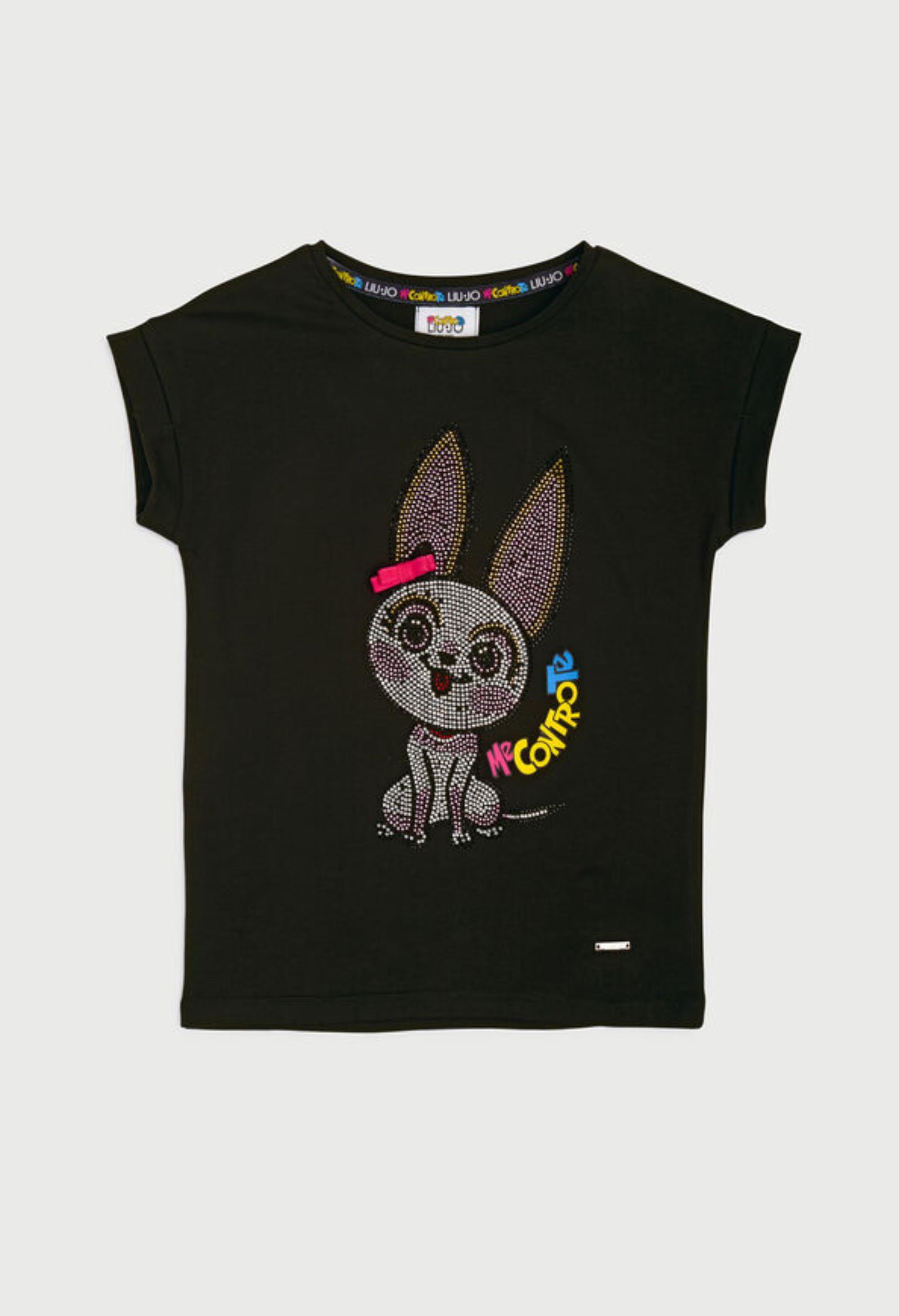 t-shirt in cotone nera asimmetrica con disegno frontale in strass liu jo   T-shirt   4B1303TX190NERO