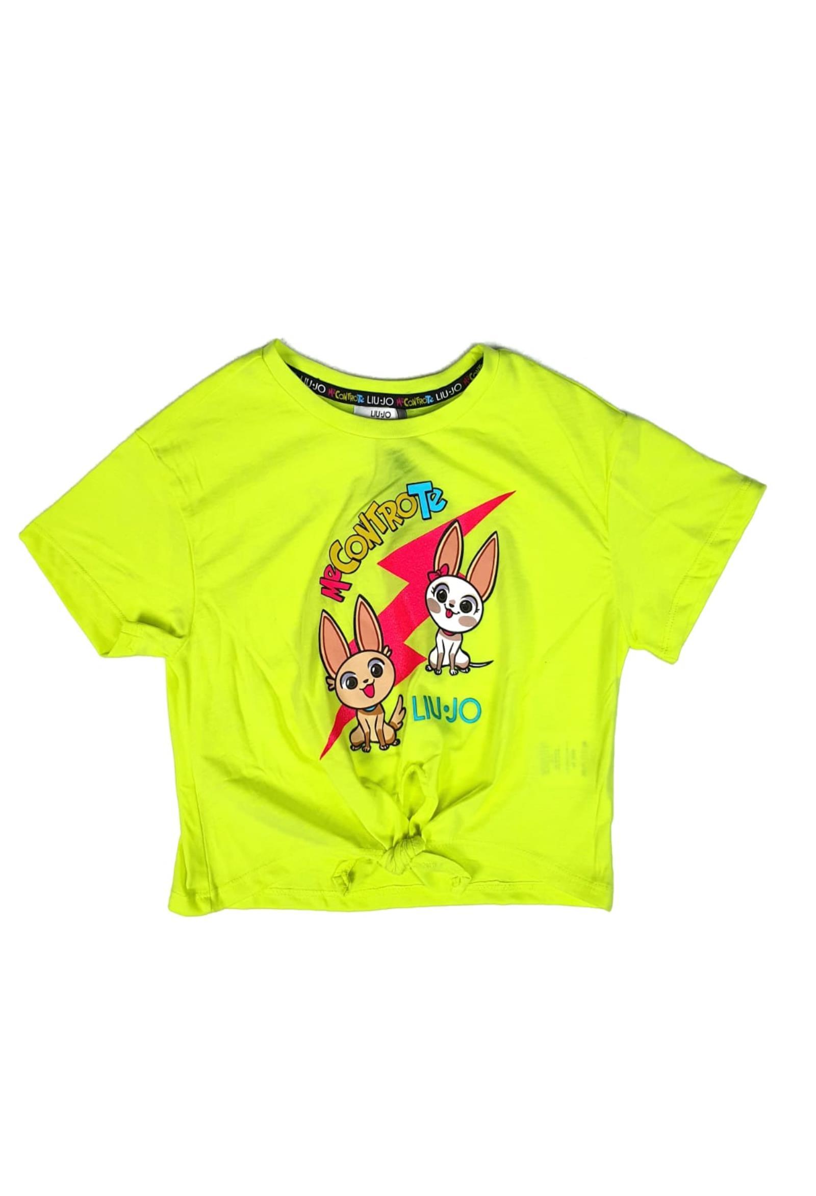 t-shirt in cotone con nodino in vita stampa frontale liu jo | T-shirt | 4B1347TX190GIALLOFLUO