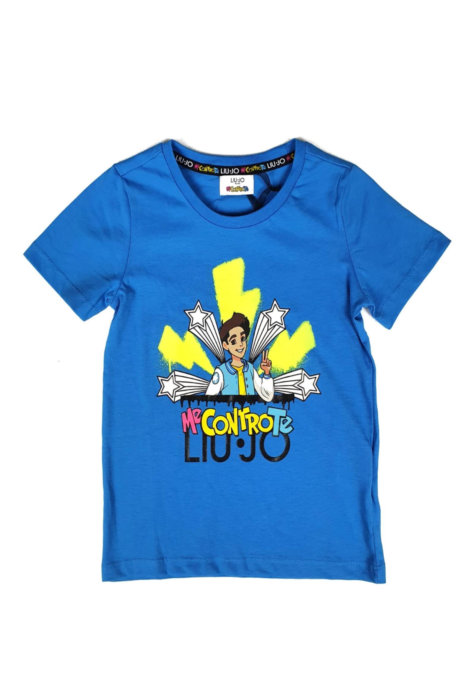 t-shirt blu con stampa MECONTROTE liu jo | T-shirt | 4B1393TX190BLU