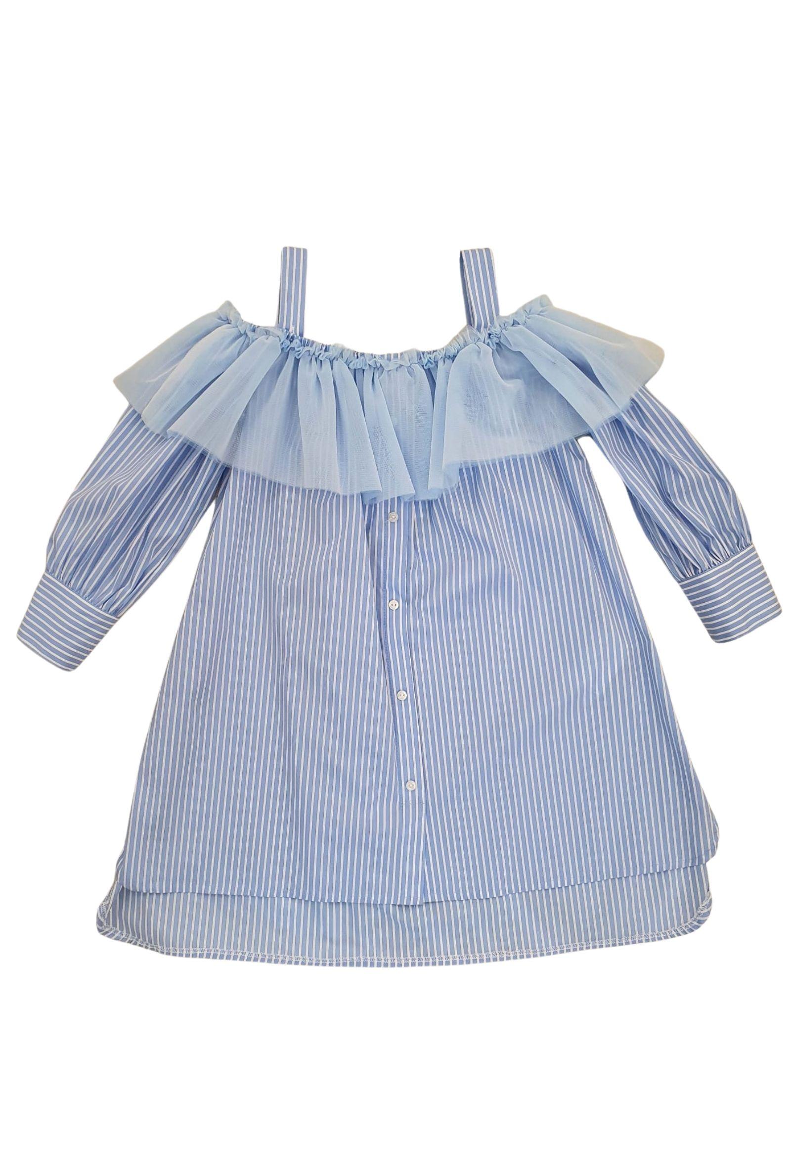 abito in cotone righe azzurro e bianco LULU | Abiti | LL0012RIGHE#