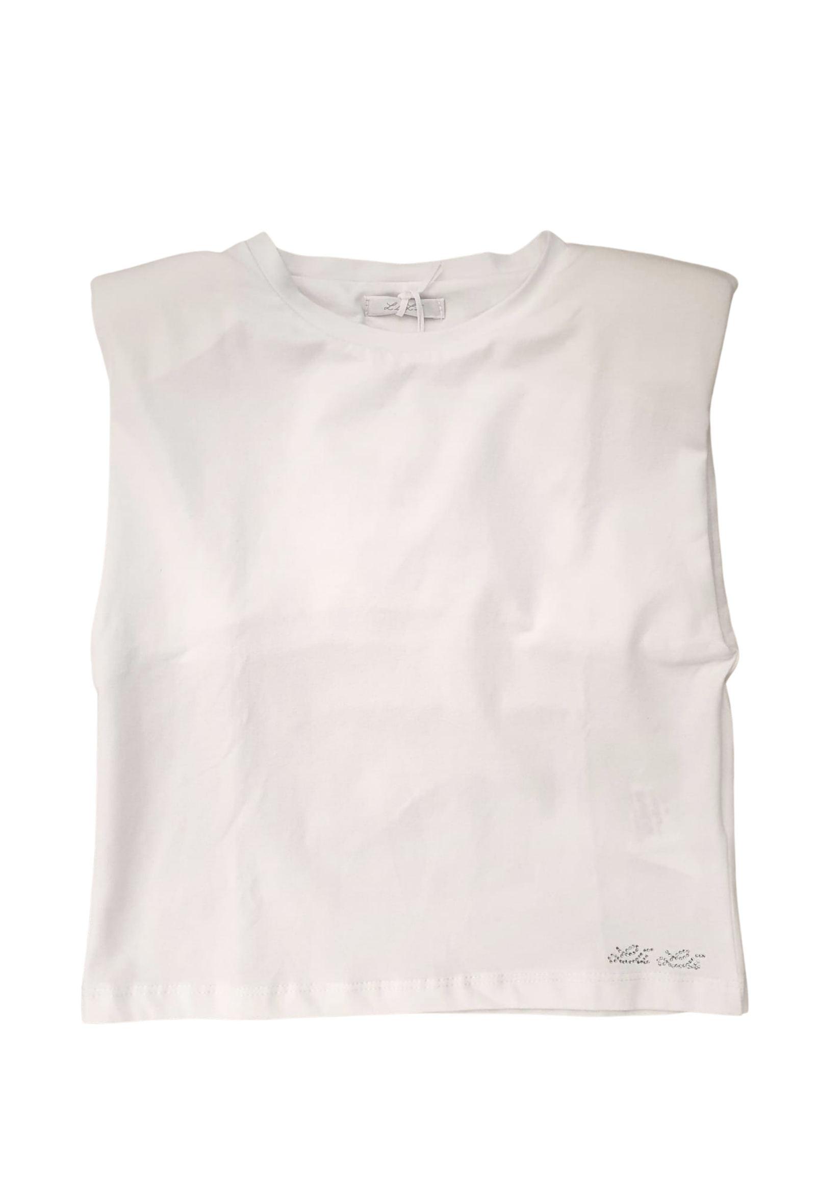 t-shirt in cotone elasticizzato taglio asimmetrico LULU | T-shirt | LL0091UNIBIANCO