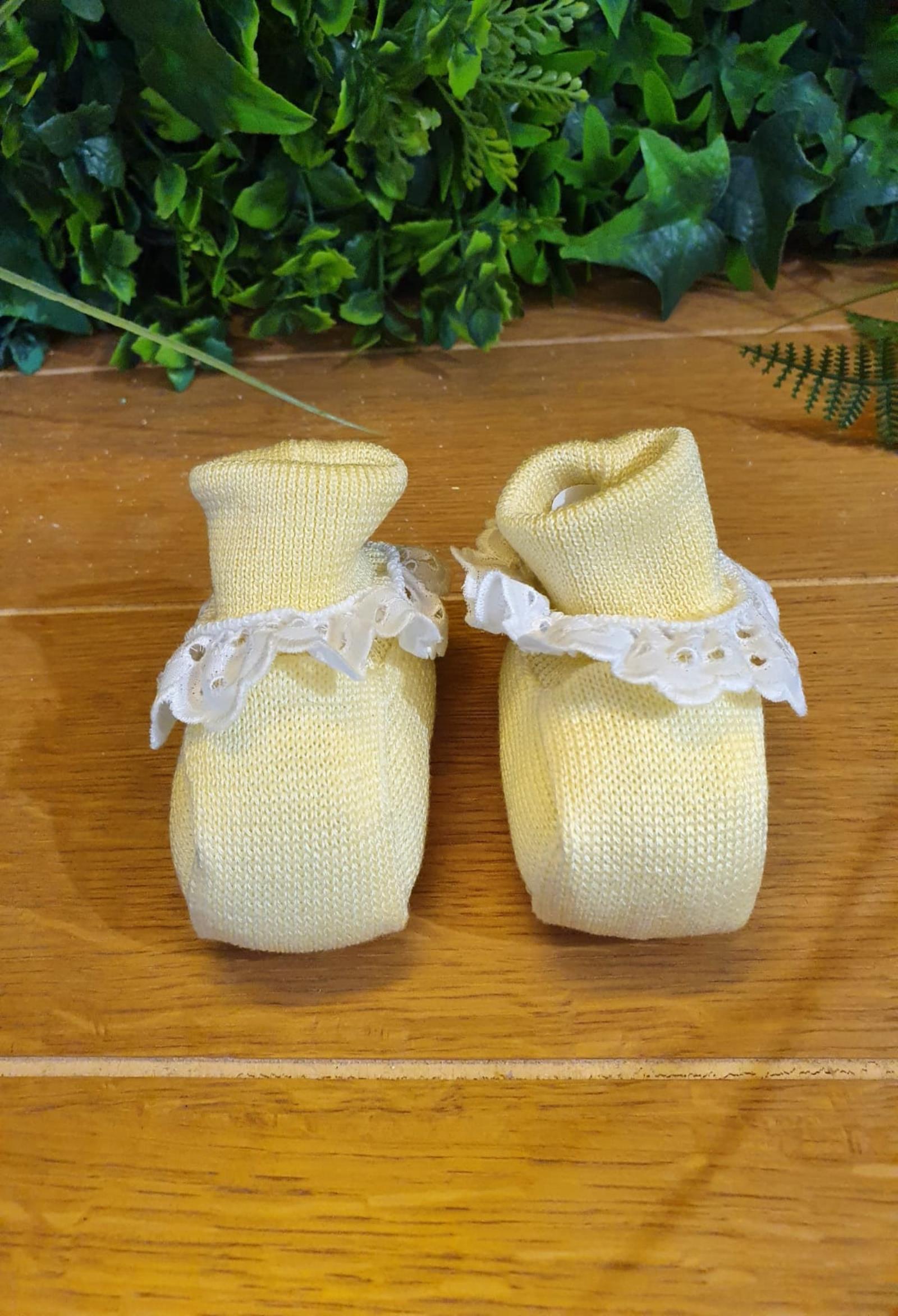 scarpe in cotone gialle con riccetto bianco in pizzo marlu   Scarpe   ES12SUNI