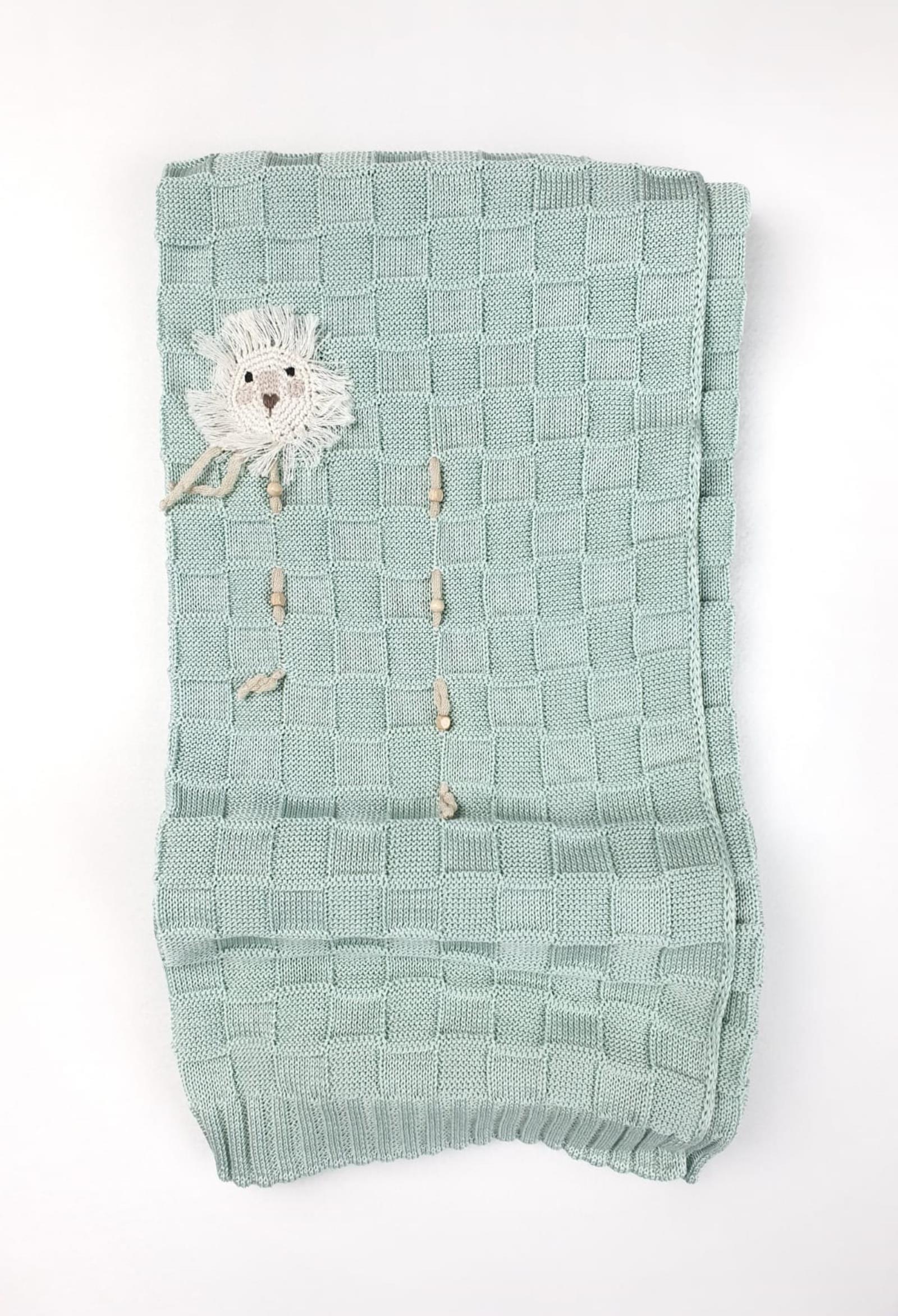 coperta in cotone verde salvia traforata e applì marlu   Coperte   ES5280UNI