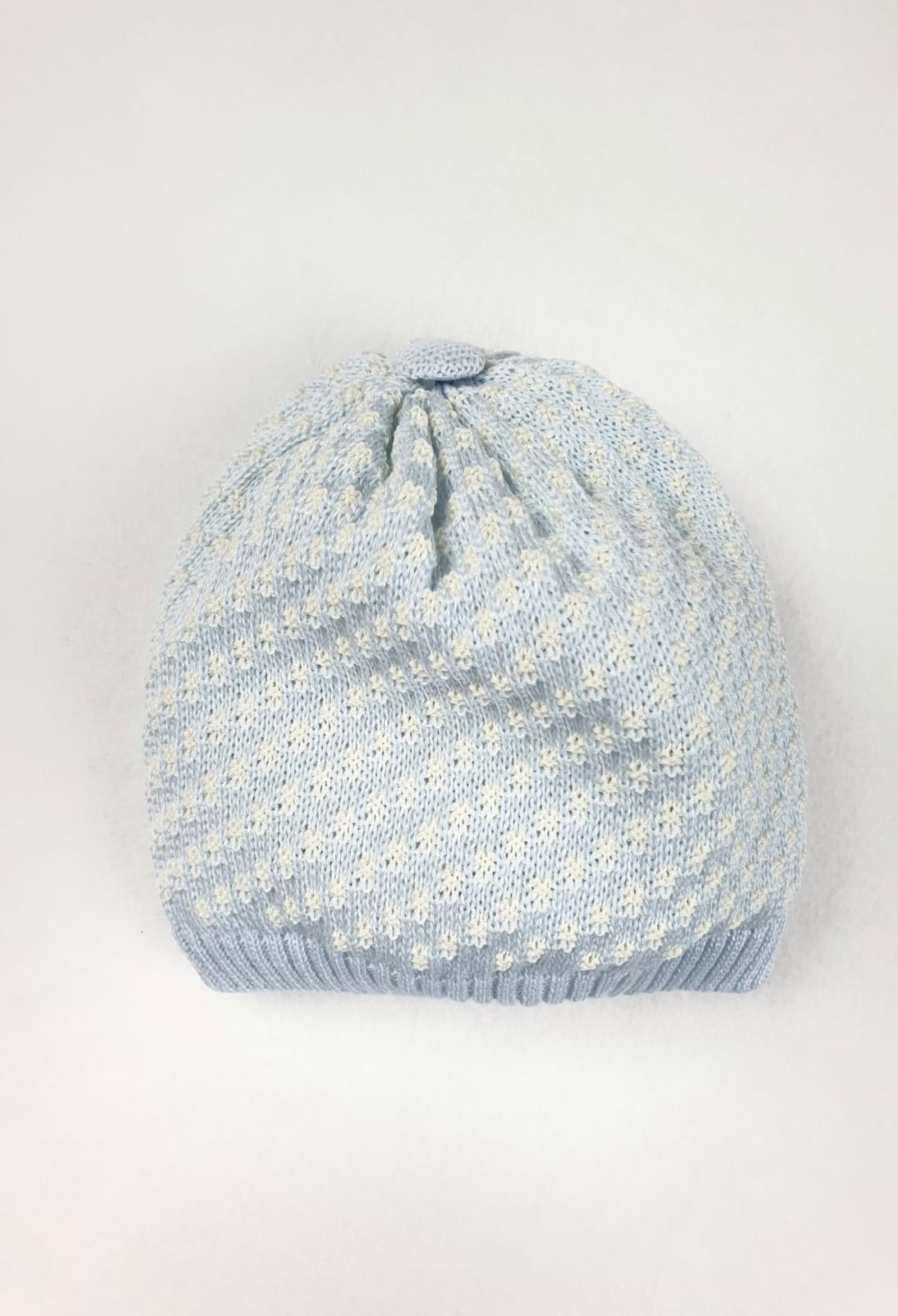 cappello in cotone azzurro e trama bianca marlu | Cappelli | ES5471UNI