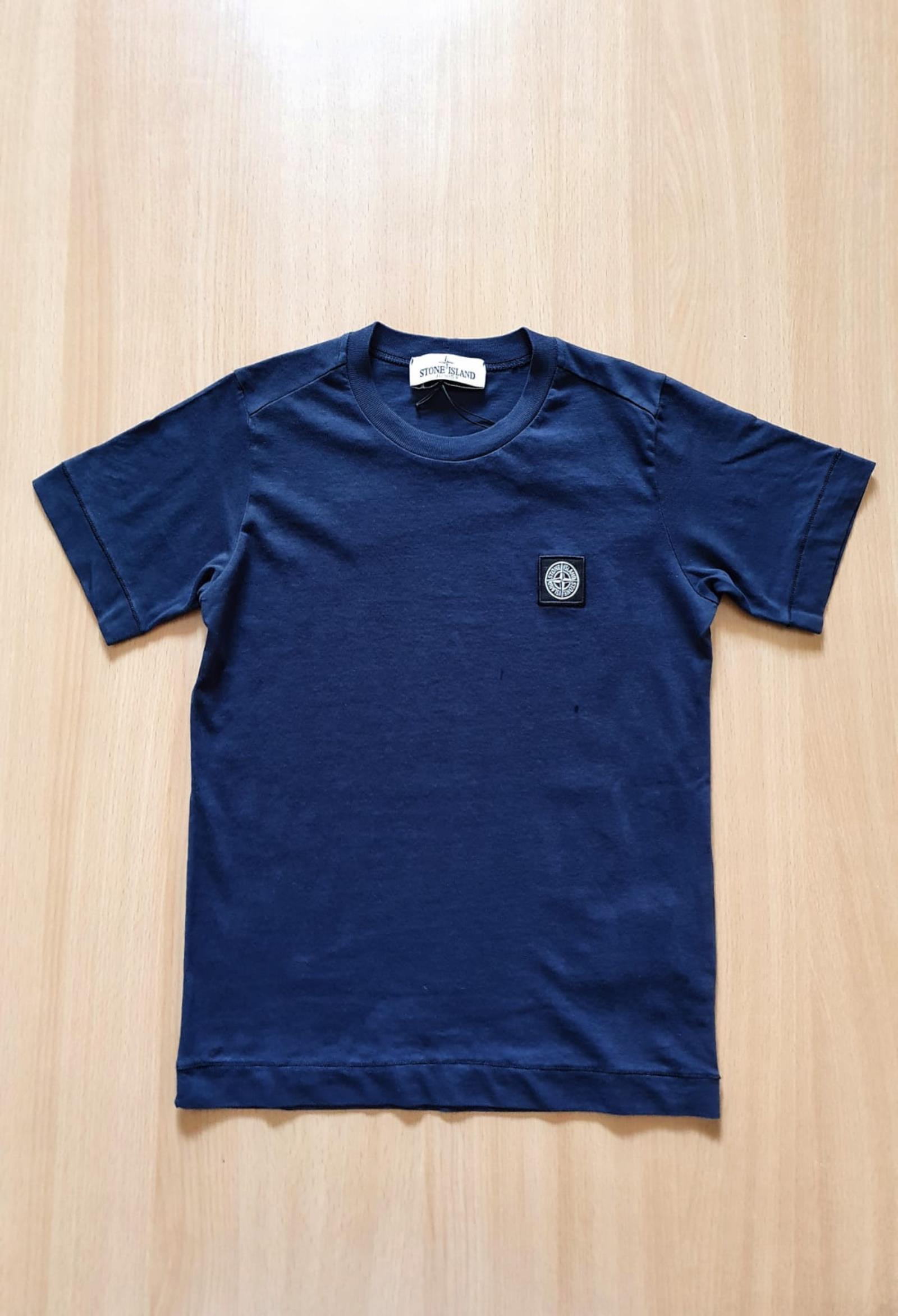 T-SHIRT MEZZA MANICA BLU CON LOGO stone island   T-shirt   741620147V0028
