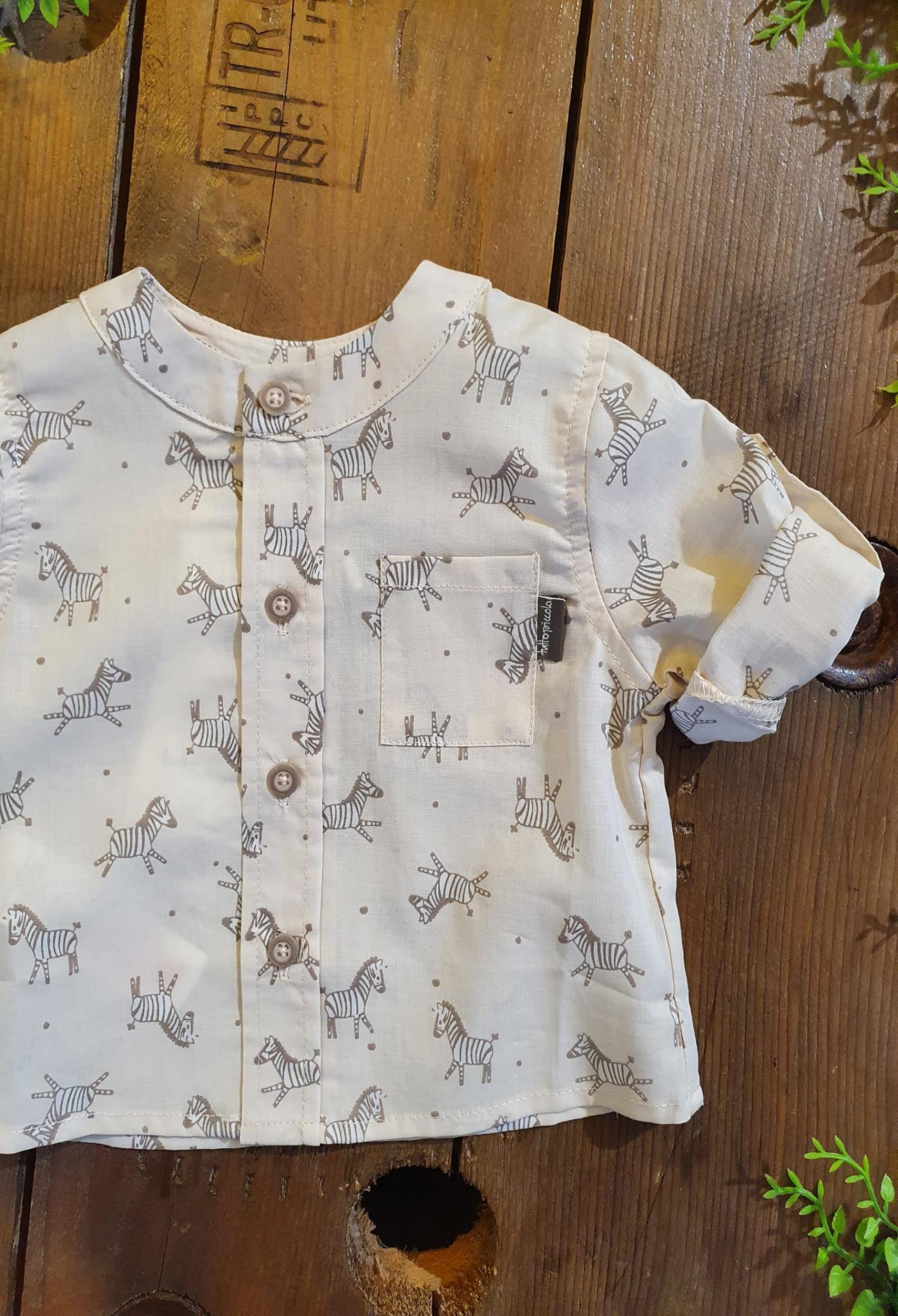 camicia in cotone collo coreana fantasia zebre tutto piccolo   Camicie   1013UNI