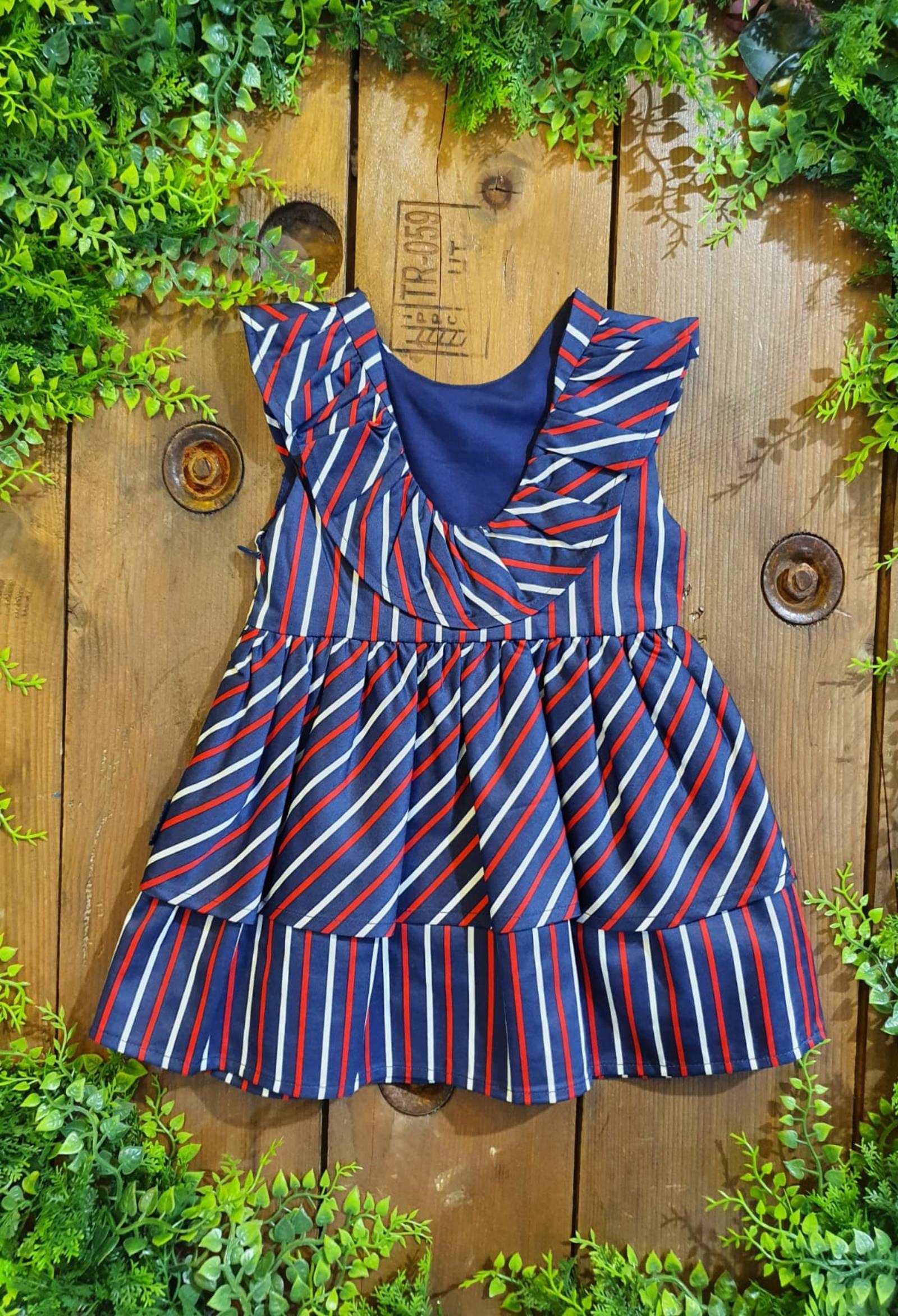 abito fantasia righe blu e rosso tutto piccolo | Abiti | 1230UNI
