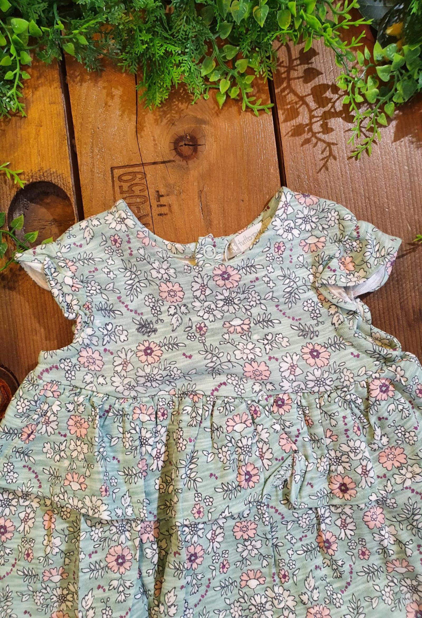 set abitino e culotte fantasia verde fiori tutto piccolo | Abiti | 1787UNI