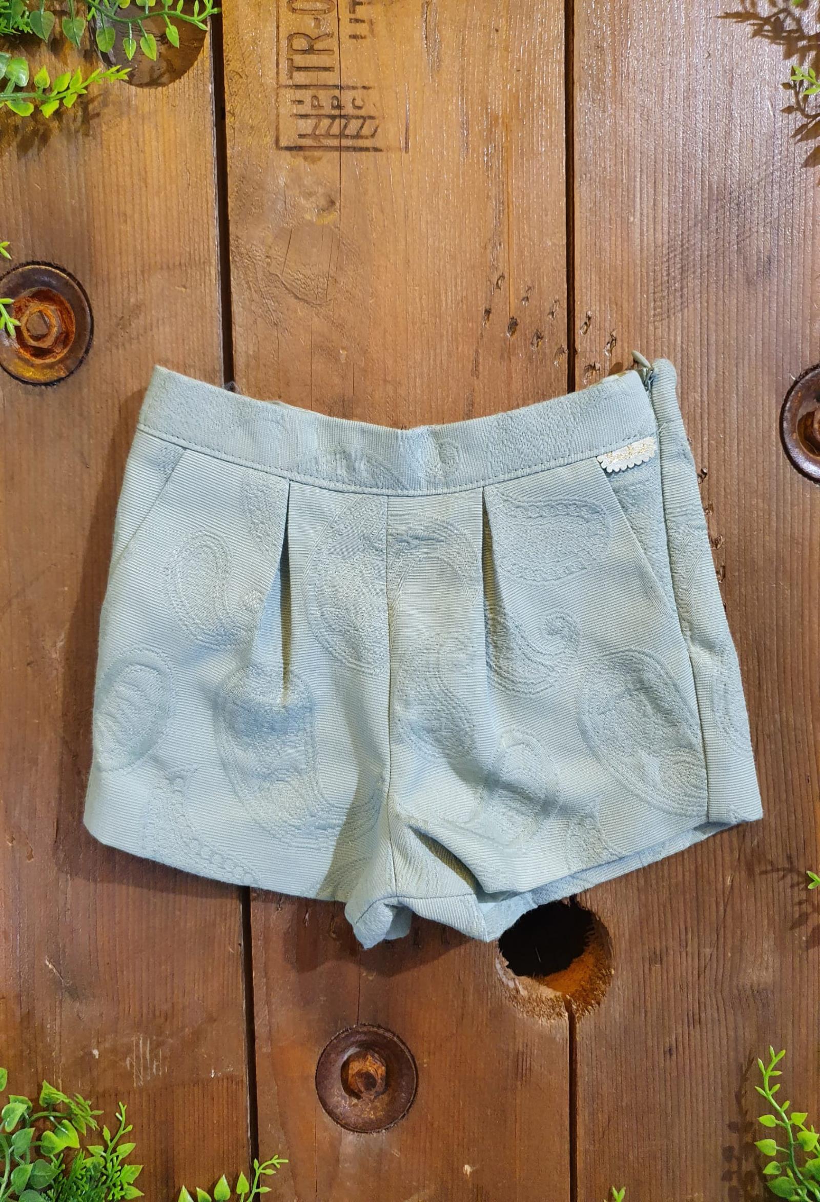 short in cotone con fantasia verde tutto piccolo   Pantaloni   1836UNI