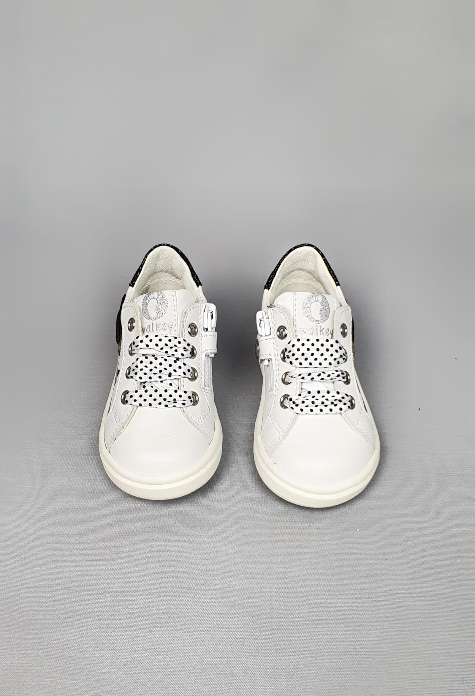sneakers bianche in pelle con disegno nero laterale walkey | Scarpe | 41149UNI