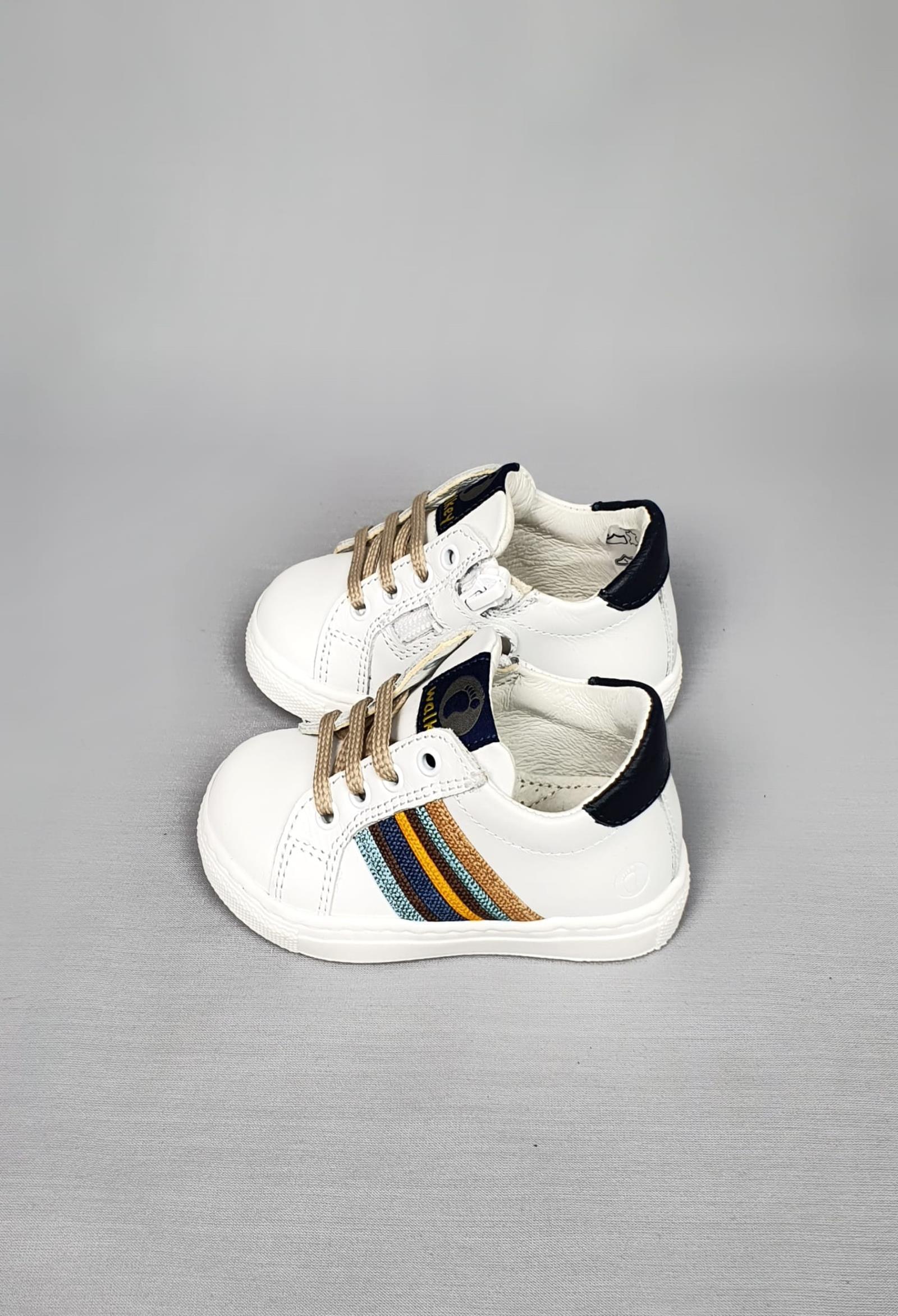 sneakers in pelle bianche con linee laterali colorate walkey | Scarpe | 41257UNI