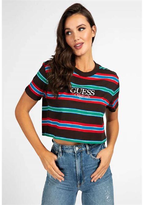 T-shirt rigata marrone guess GUESS | T-shirt | WOBI38R9XF2UNI
