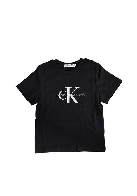 T-SHIRT NERA CON LOGO BIANCO calvin klein jeans | T-shirt | IU00068BAE