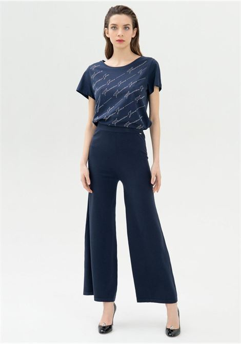 pantalone cropped blu fracomina | Pantaloni | V3001K41301BLU