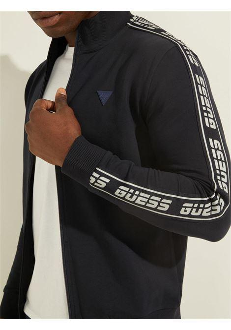 felpa con zip blu GUESS fitness | Felpe | U1GA12K6ZS1DPM